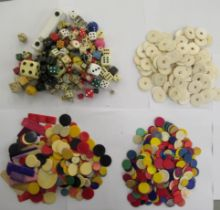 A miscellany of table games components: to include dice,