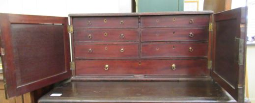 A mid 19thC mahogany tabletop collector's cabinet,