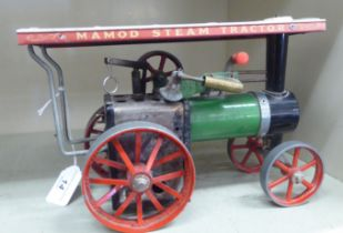 A Mamod live steam traction engine in black,
