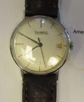 A 1950s Eberhard 263-12 stainless steel cased wristwatch, the movement with sweeping seconds,