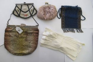 Early 20thC lady's accessories: to include bead evening bags; and elbow length,