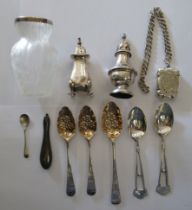 Silver items: to include 19thC fruit spoons; and a semi-opaque,