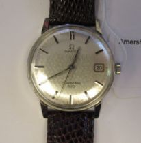 A 1950s Omega Seamaster 600 stainless steel cased wristwatch, the movement with sweeping seconds,