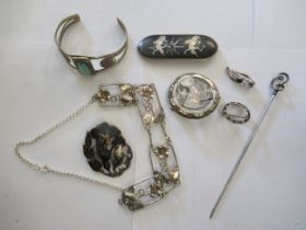 Silver items of personal adornment: to include a Charles Horner hat pin;