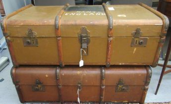 An inter-wars hessian covered and beech bound twin handled cabin trunk 14''h 36''w;