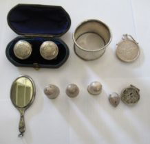 Silver items: to include a miniature hand mirror, three thimbles and a filigree worked,