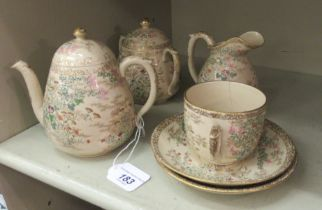 Ceramics: to include four pieces from an early 20thC Japanese earthenware tea set OS2