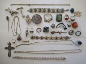 Silver and silver coloured metal items of personal ornament: to include a designer brooch,