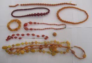 Amber and amber coloured bead necklaces and bracelets OS10