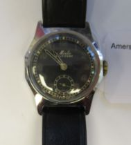 A 1930/40s Mido Multifort military type, stainless steel cased wristwatch,