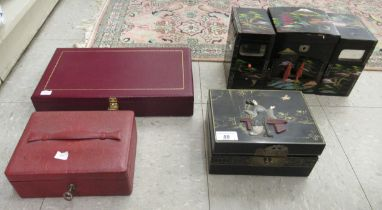 Four various jewellery boxes and caskets: to include a Chinese black lacquered example,