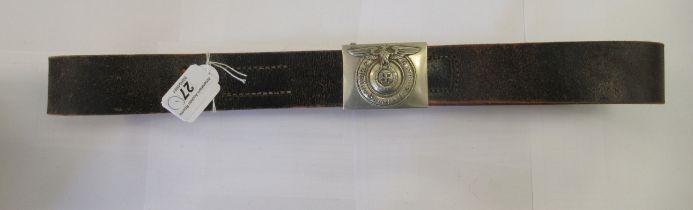 A German World War II SS stitched brown hide belt,