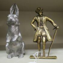A cast brass flatback figure,