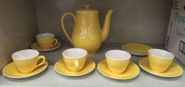 A Royal Copenhagen china Susanne pattern tea set comprising a teapot, five cups and six saucers