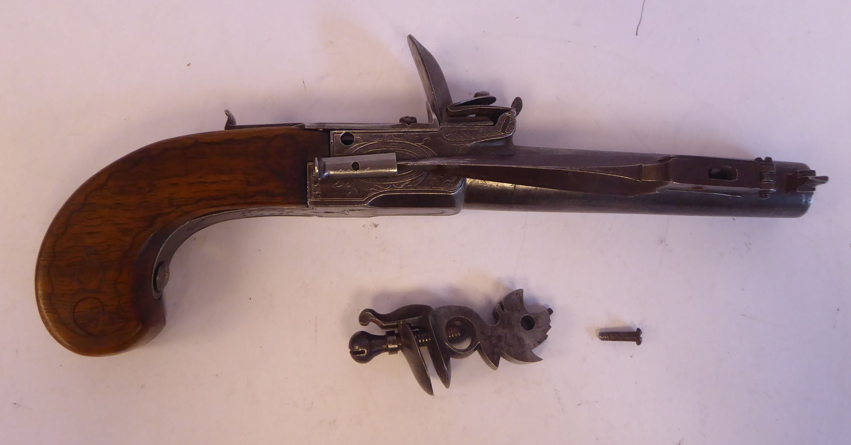 A 19thC Continental flintlock pistol with a folding trigger, inlaid wire ornament on the walnut - Image 2 of 9