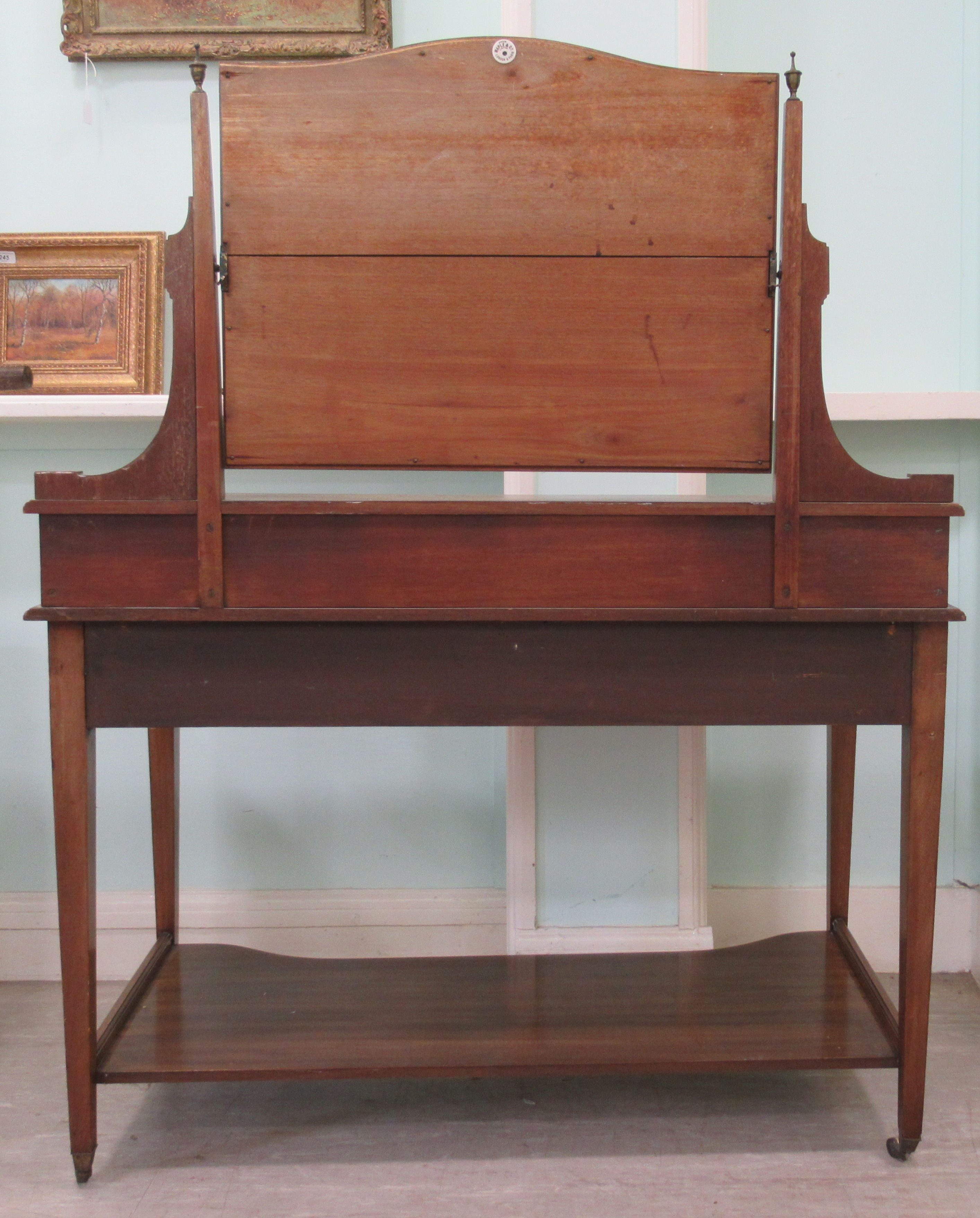 An Edwardian Maple & Co string inlaid ebony and crossbanded mahogany dressing table, surmounted by a - Image 3 of 9