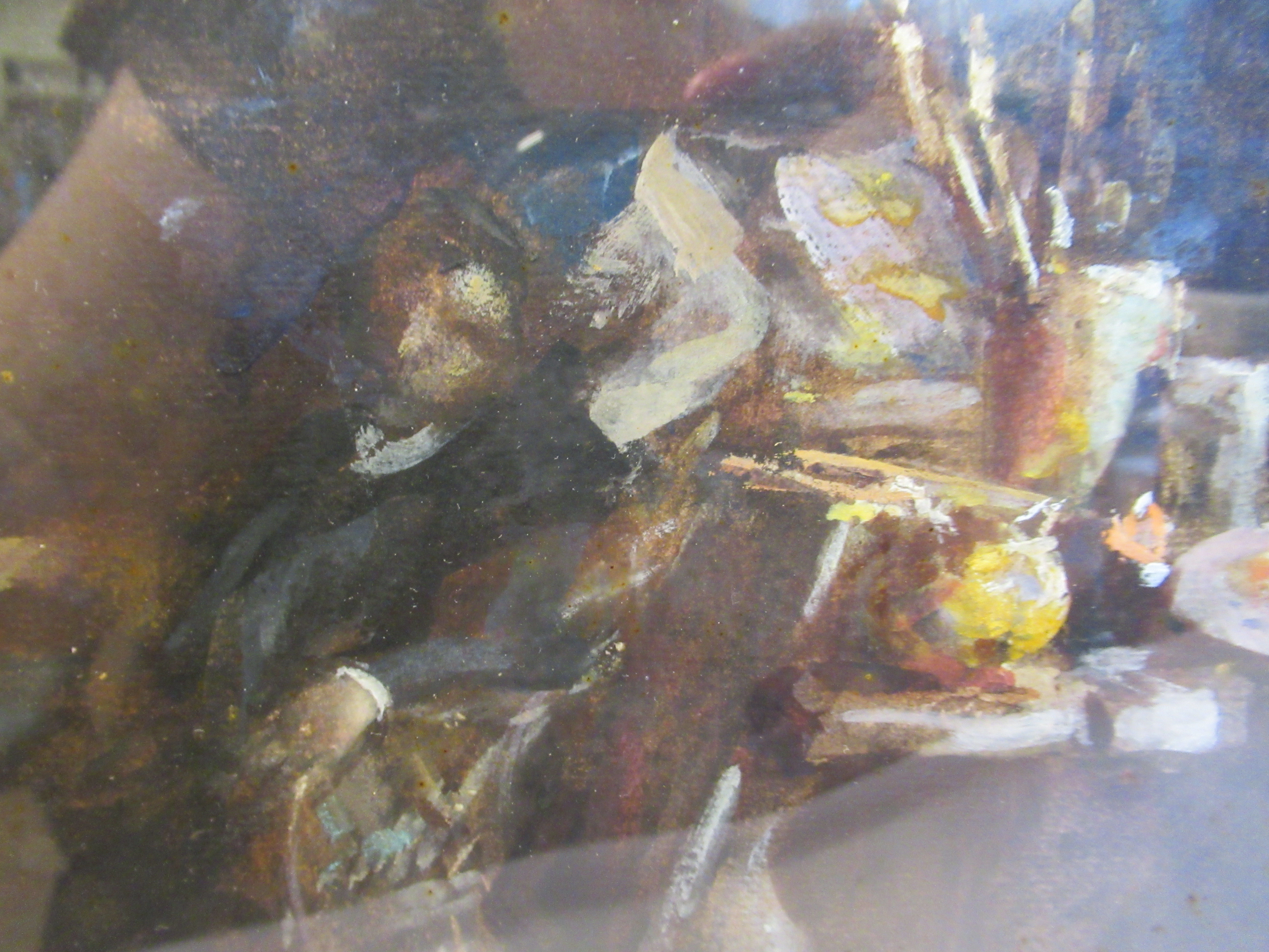 TW Morley - an interior studio scene with an artist resting in an armchair watercolour bears a - Image 5 of 7