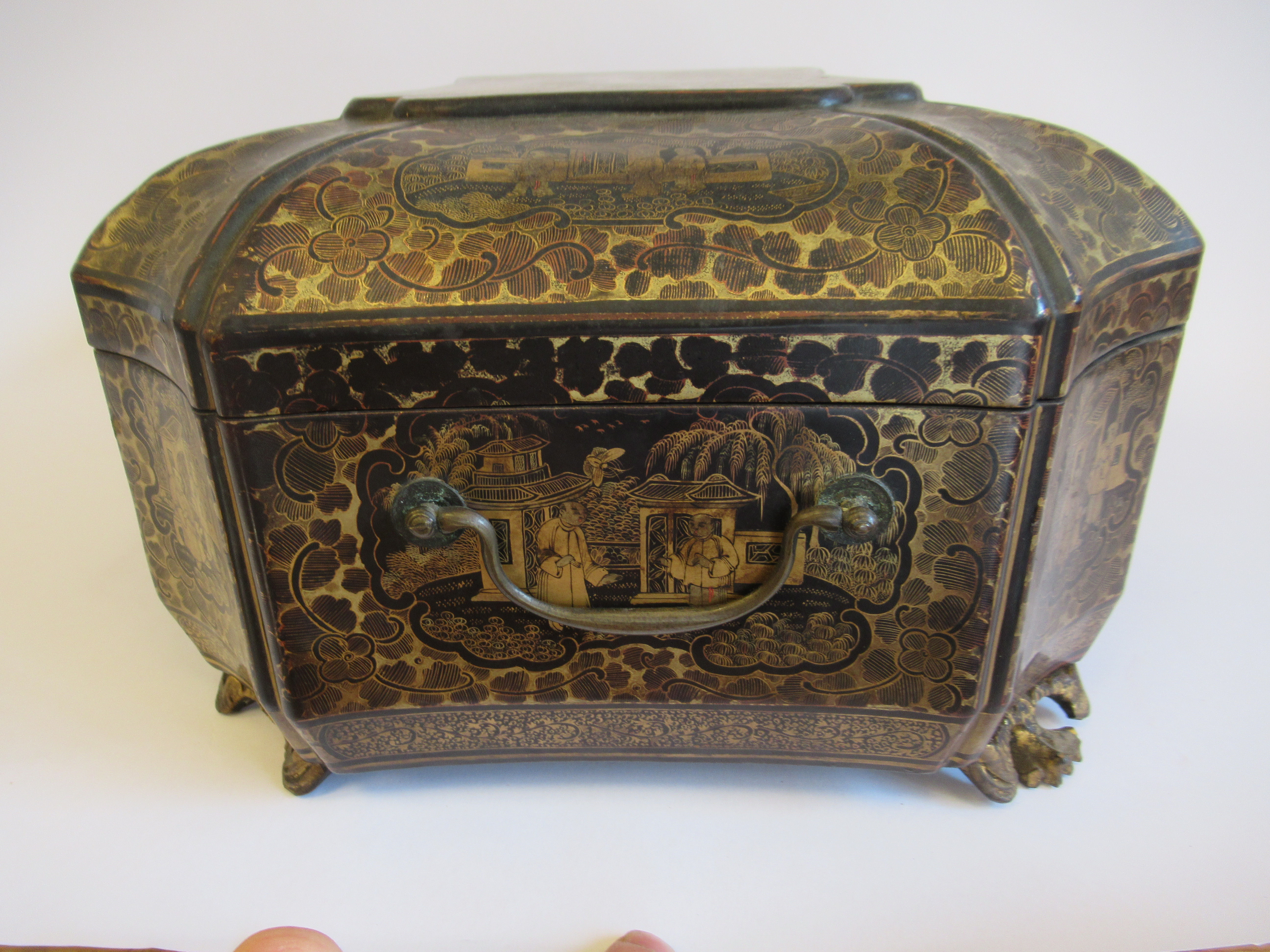 A late 19thC Sino European black lacquered sewing casket of incurved, elongated octagonal form - Image 5 of 11