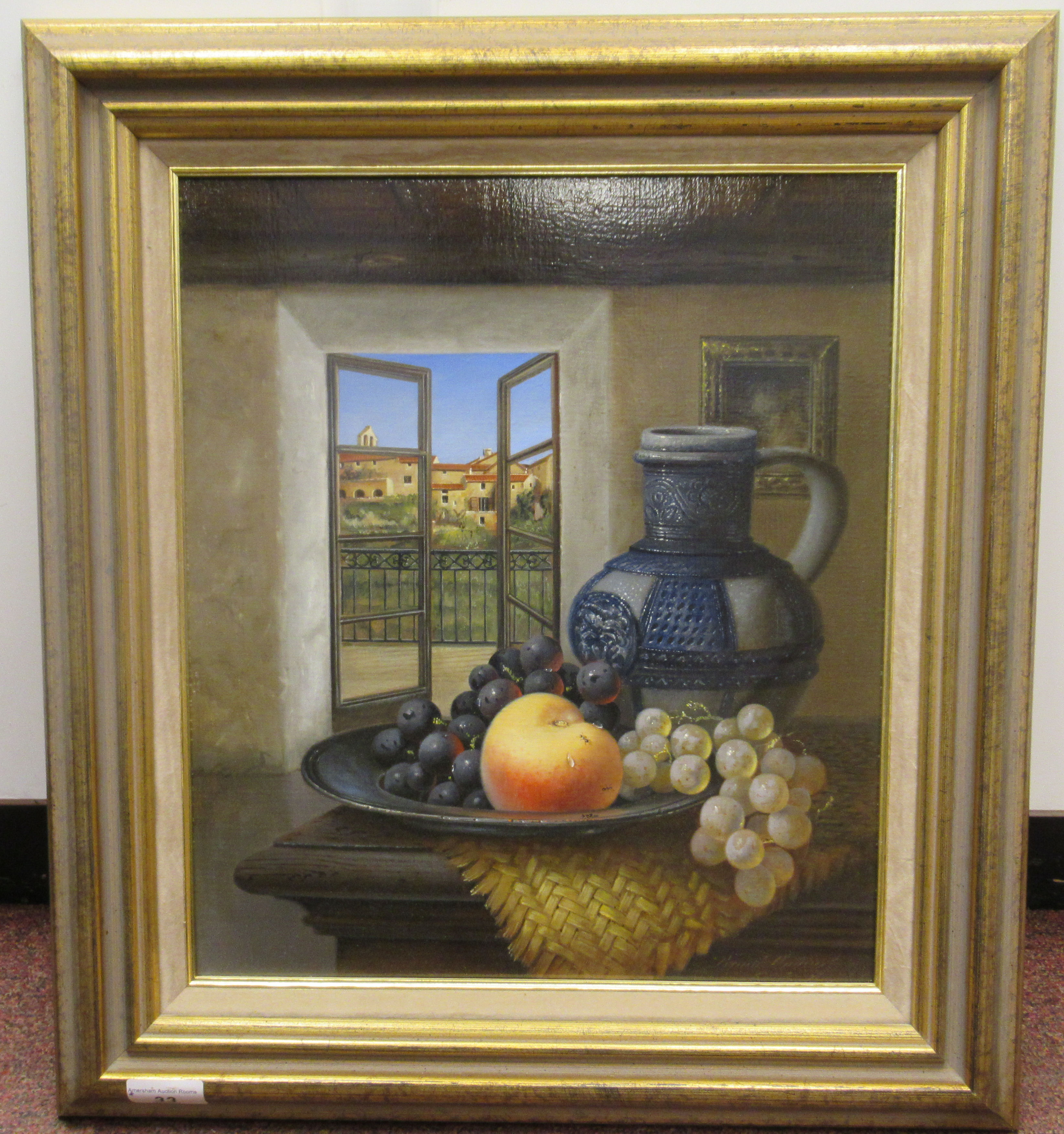 Brain Davies - a still life study, soft fruit in a dish, beside a jug, on a table by an open window