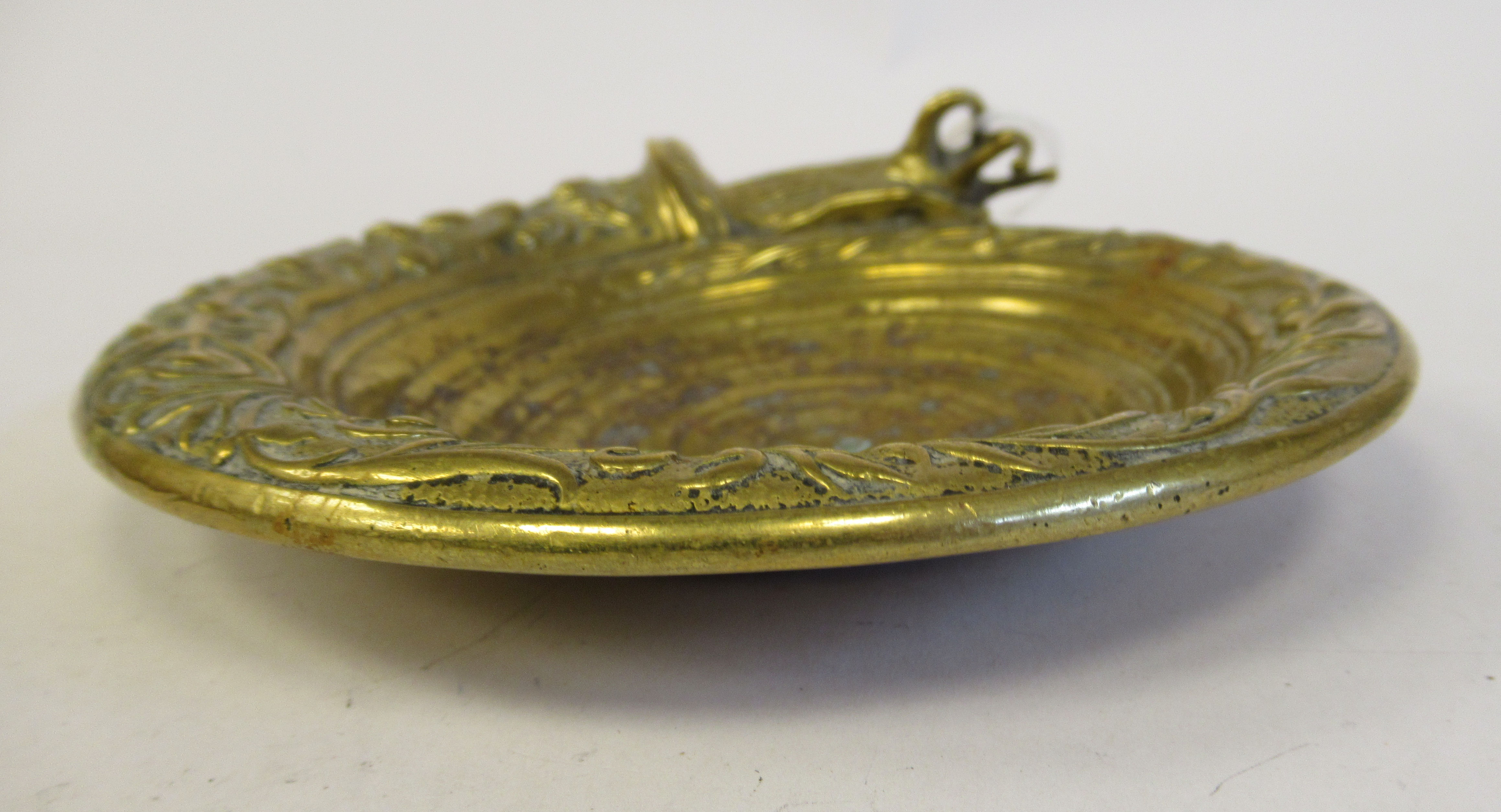 A late 19thC decoratively cast gilt metal dish, the border featuring a snail emerging from a - Image 2 of 4
