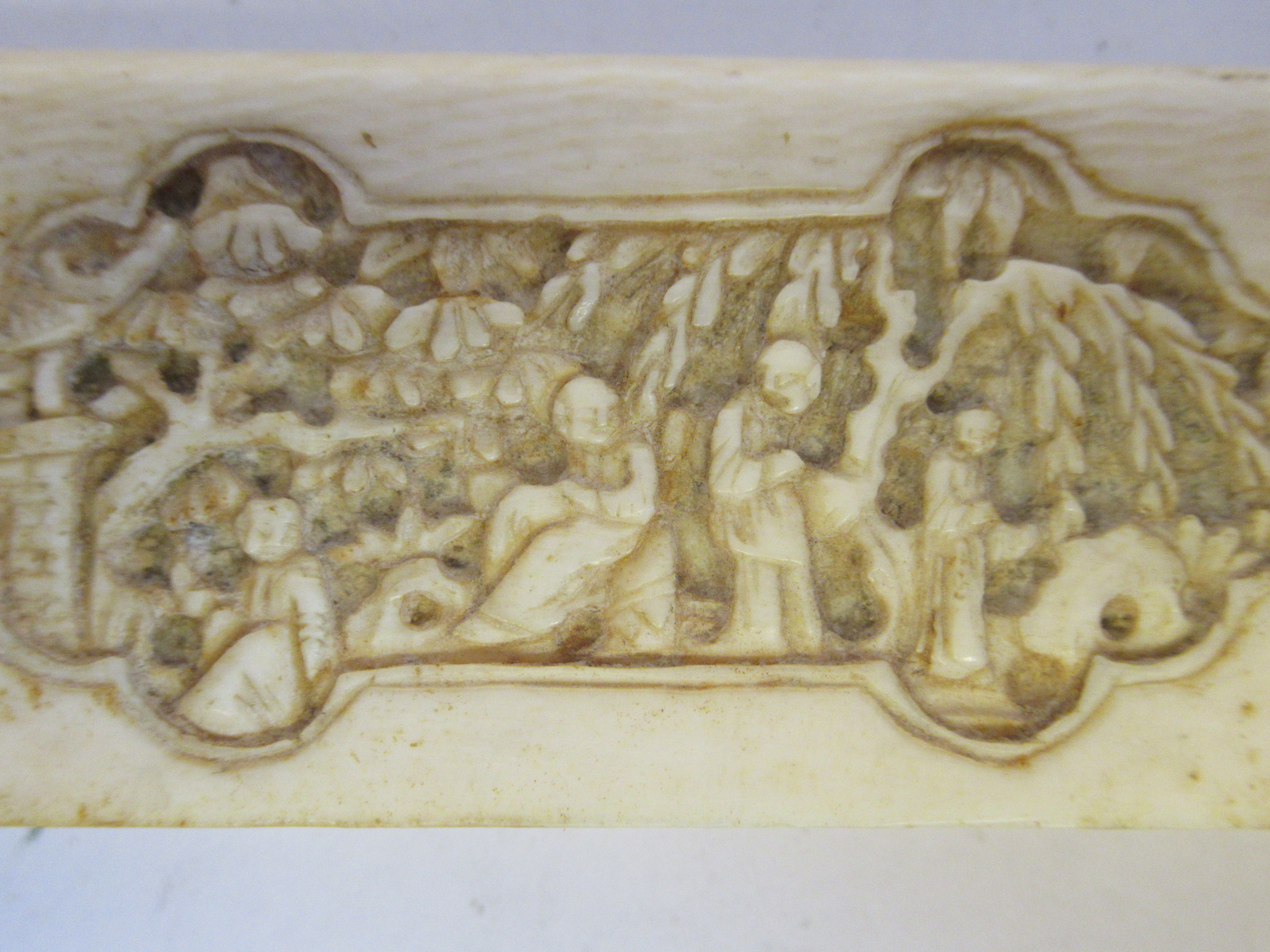 A late 19th/early 20thC Chinese ivory two part card case, carved in vignette panels with figures, in - Image 5 of 5