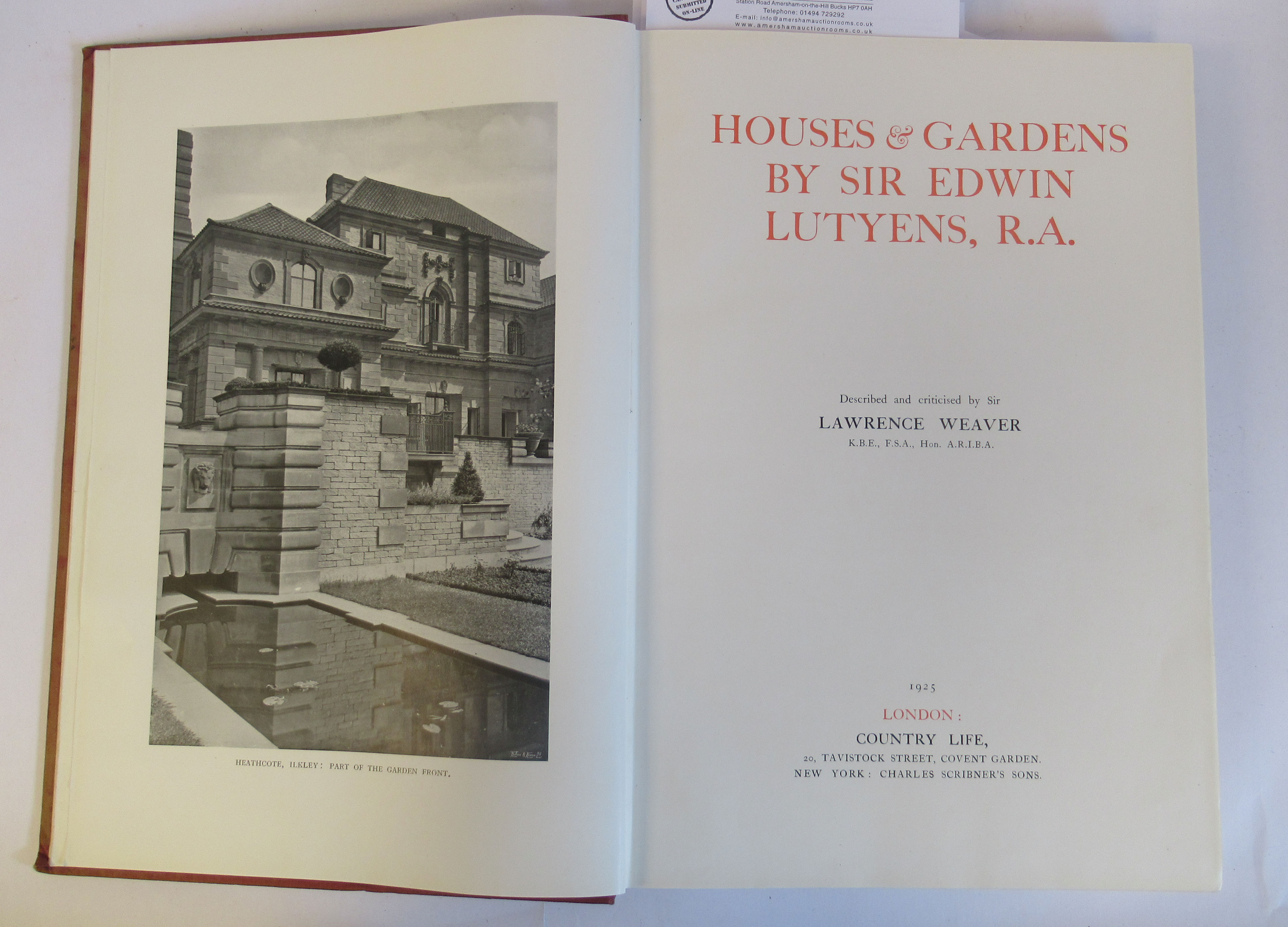 Book: 'Houses and Gardens' by Edwin Lutyens RA with numerous photographic illustrations published by