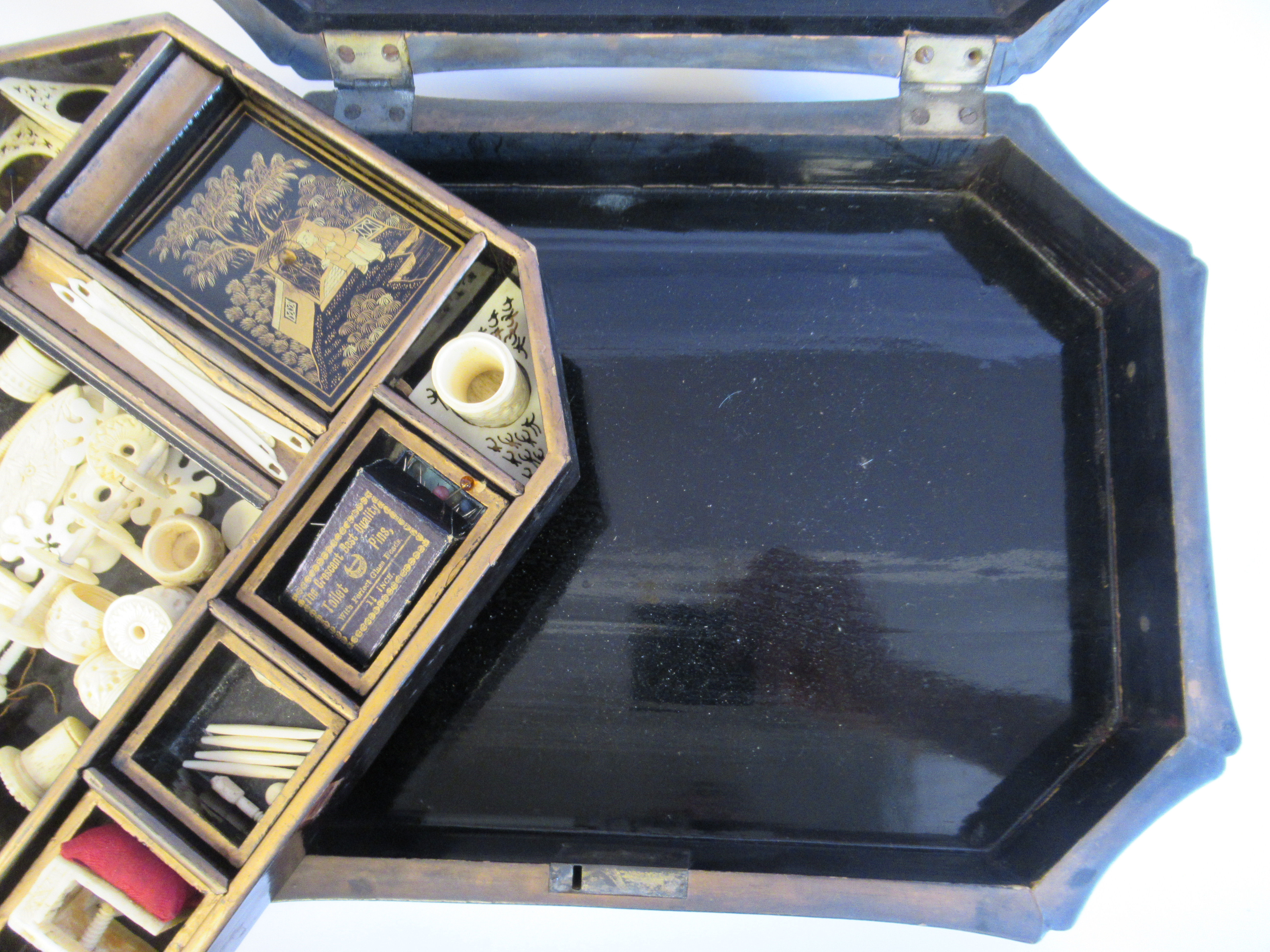 A late 19thC Sino European black lacquered sewing casket of incurved, elongated octagonal form - Image 7 of 11