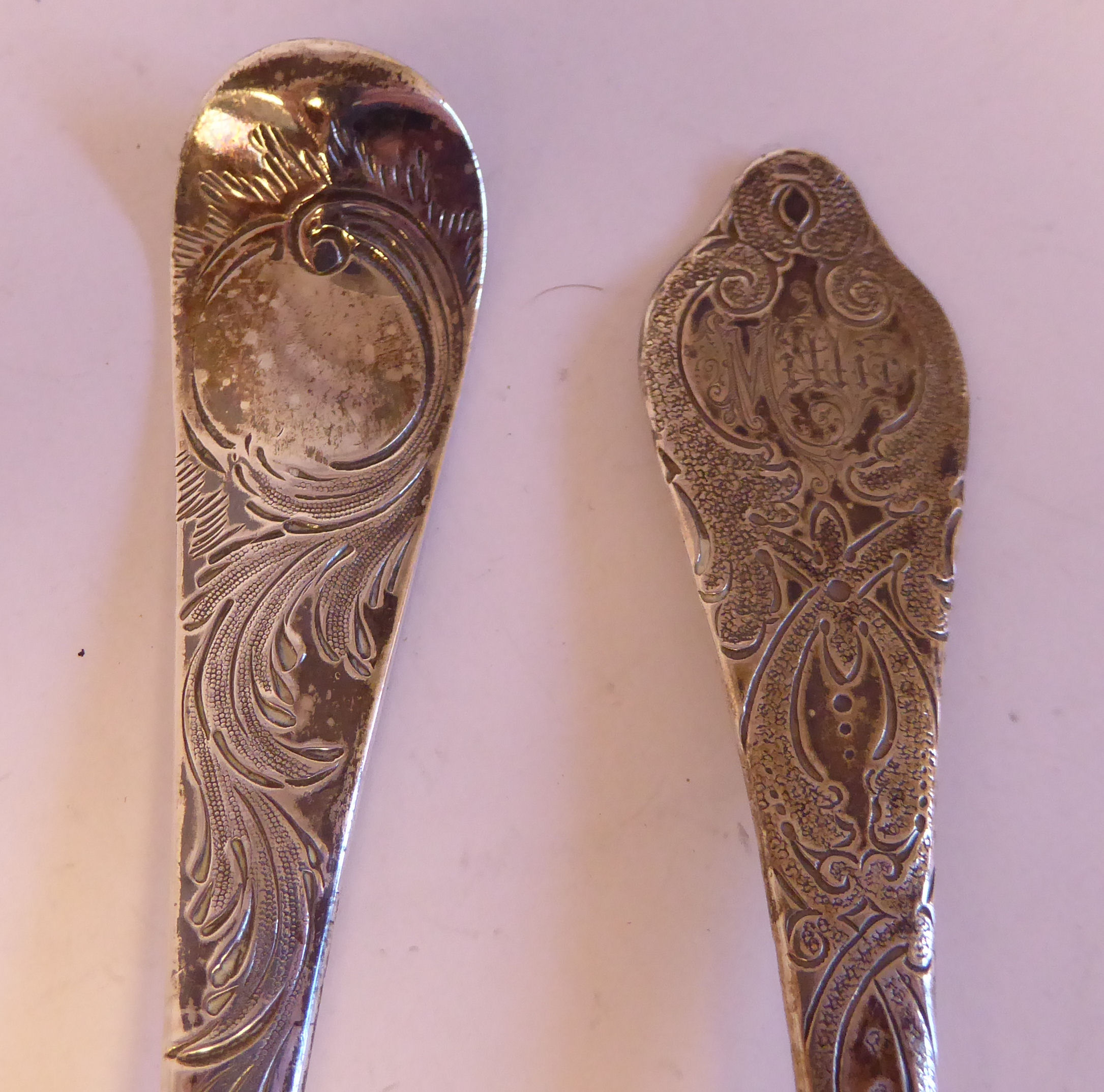Four similar late 18th/early 19thC variously decorated, silver berry spoonsmixed marks - Image 4 of 5