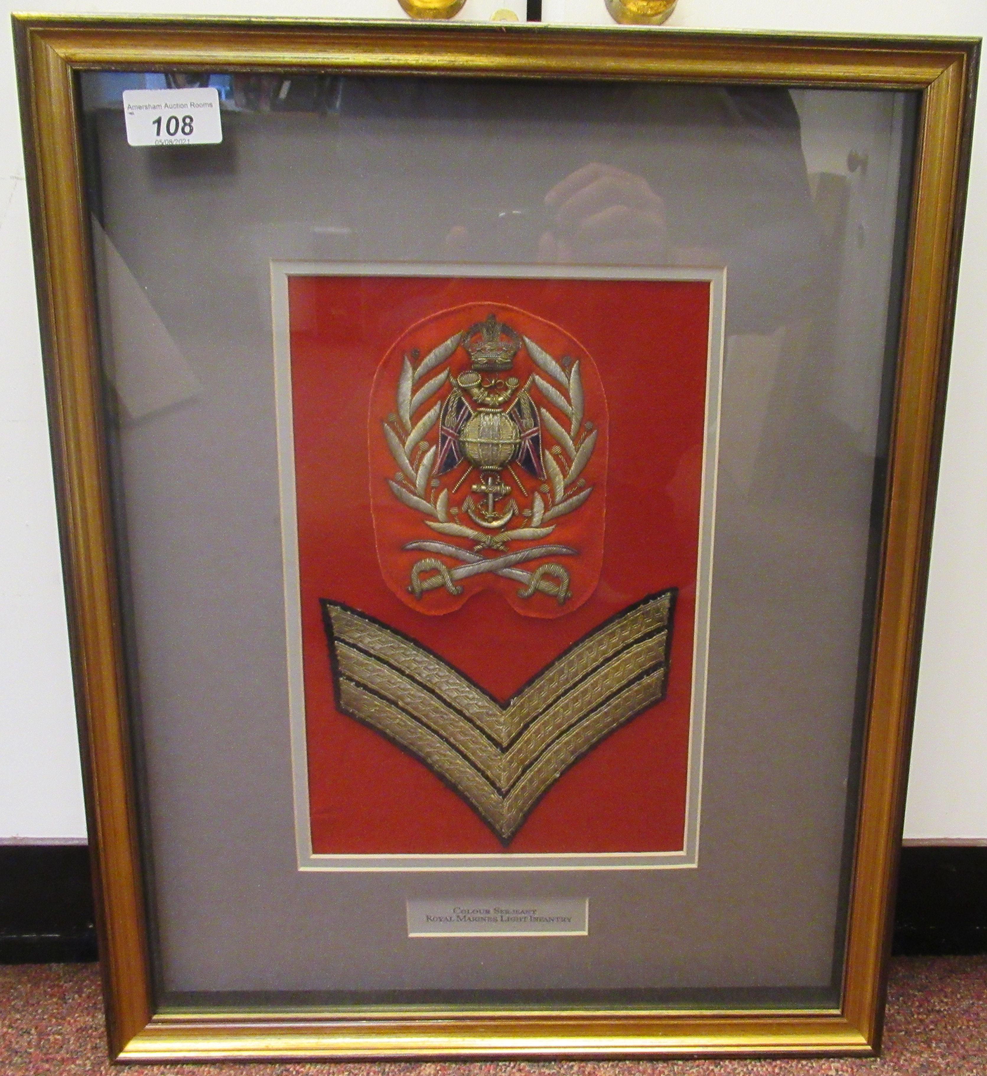 British military braided uniform insignia, viz. Colour Sergeant Royal Marines Light Infantry(
