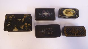Five black lacquered and variously decorated, 19thC papier mache snuff boxes