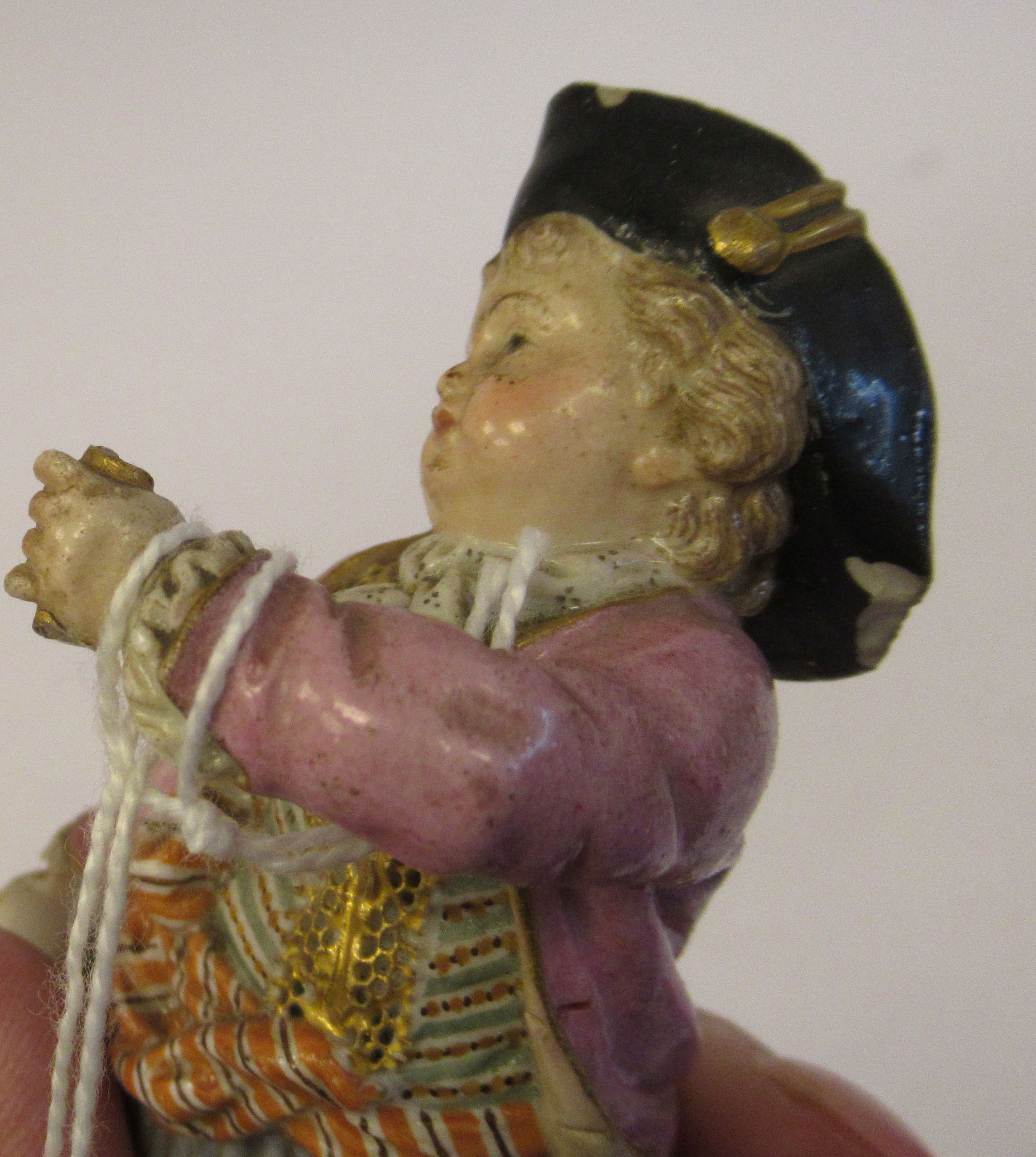 """A 19th/20thC Meissen porcelain figure, a boy dressed as a pirate, on a square plinth 4""""h - Image 7 of 9"""