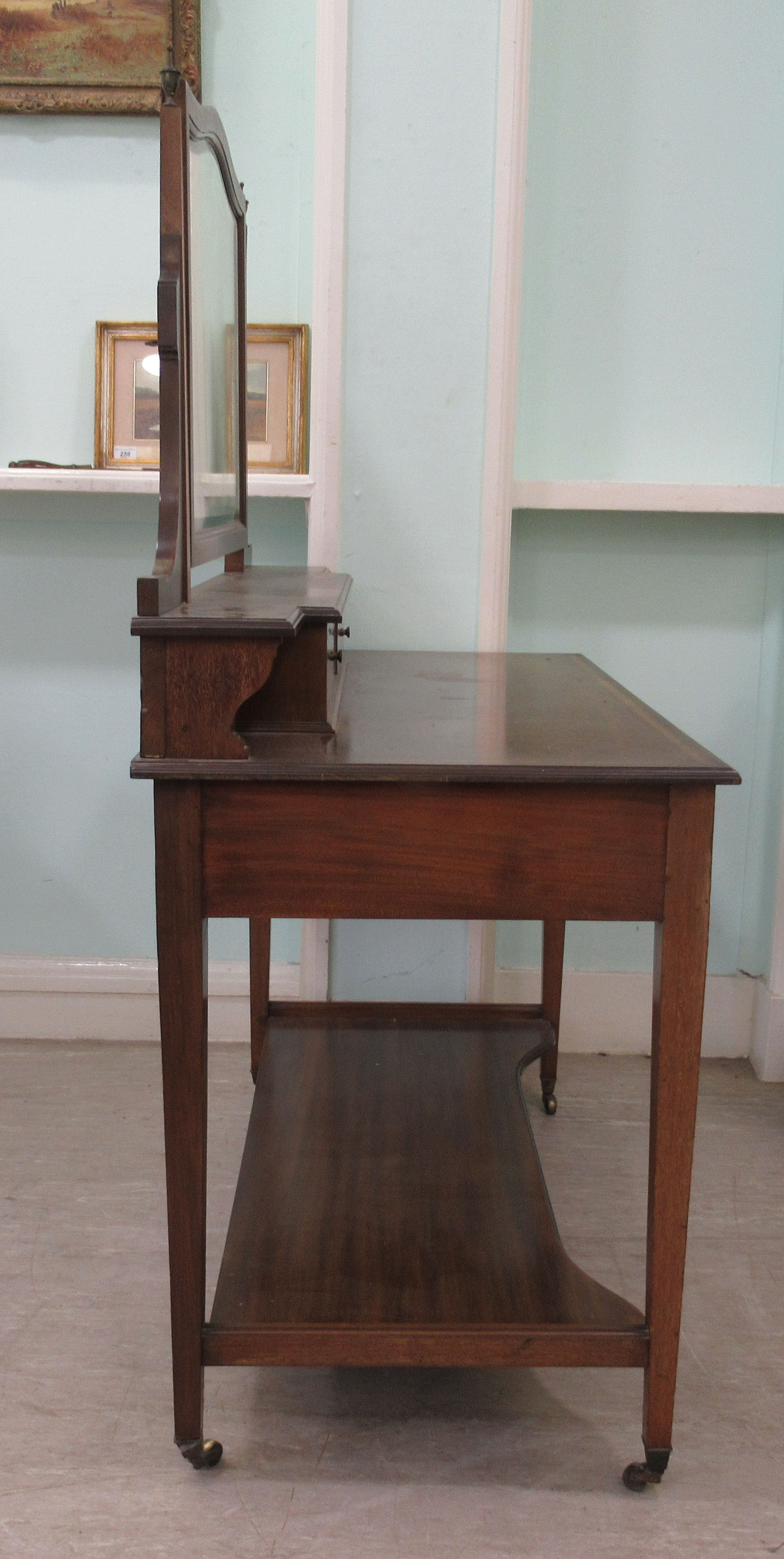 An Edwardian Maple & Co string inlaid ebony and crossbanded mahogany dressing table, surmounted by a - Image 2 of 9