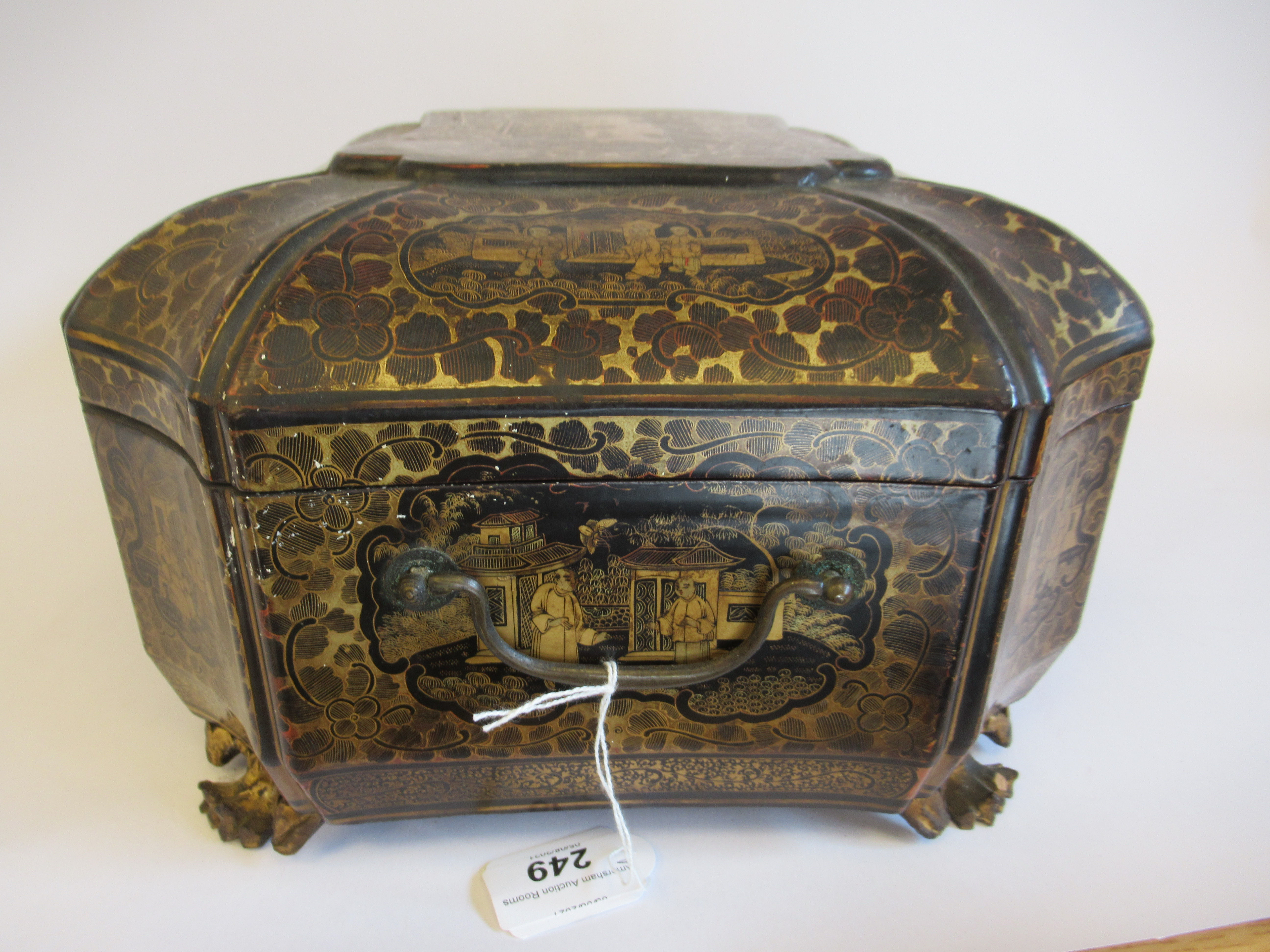 A late 19thC Sino European black lacquered sewing casket of incurved, elongated octagonal form - Image 3 of 11