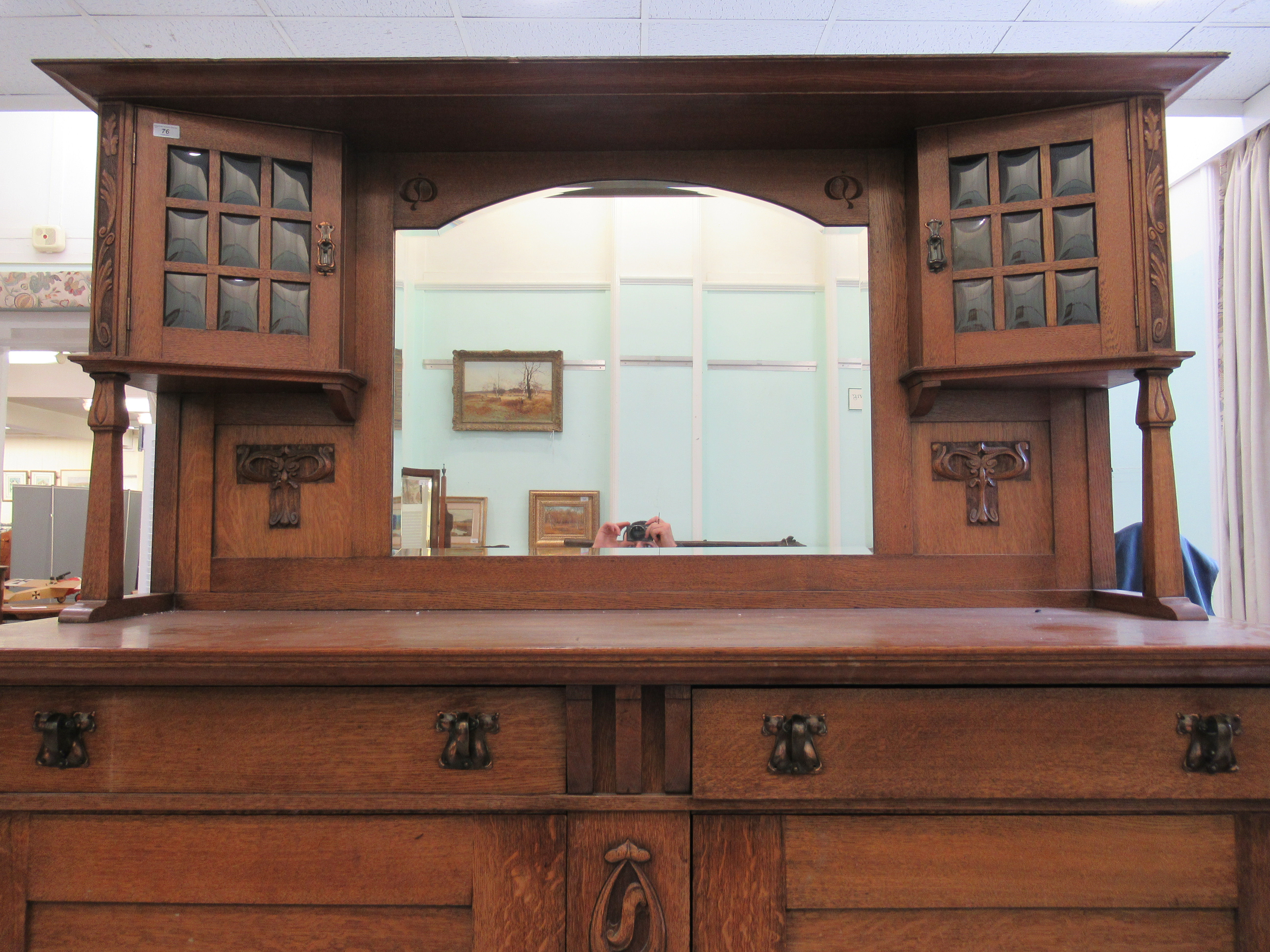 An early 20thC Liberty & Co light oak dresser with carved organically inspired ornament, the - Image 2 of 14