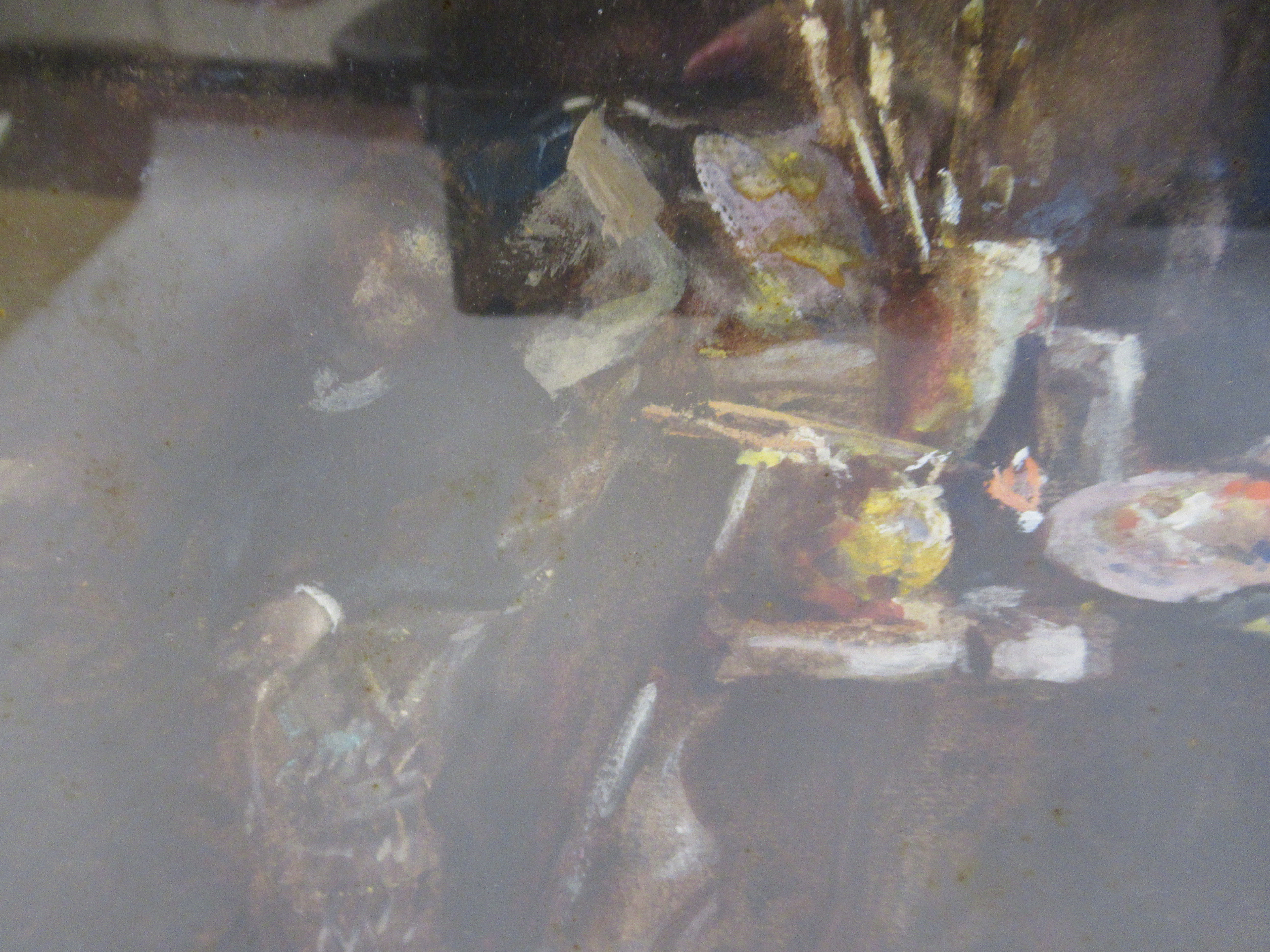TW Morley - an interior studio scene with an artist resting in an armchair watercolour bears a - Image 4 of 7