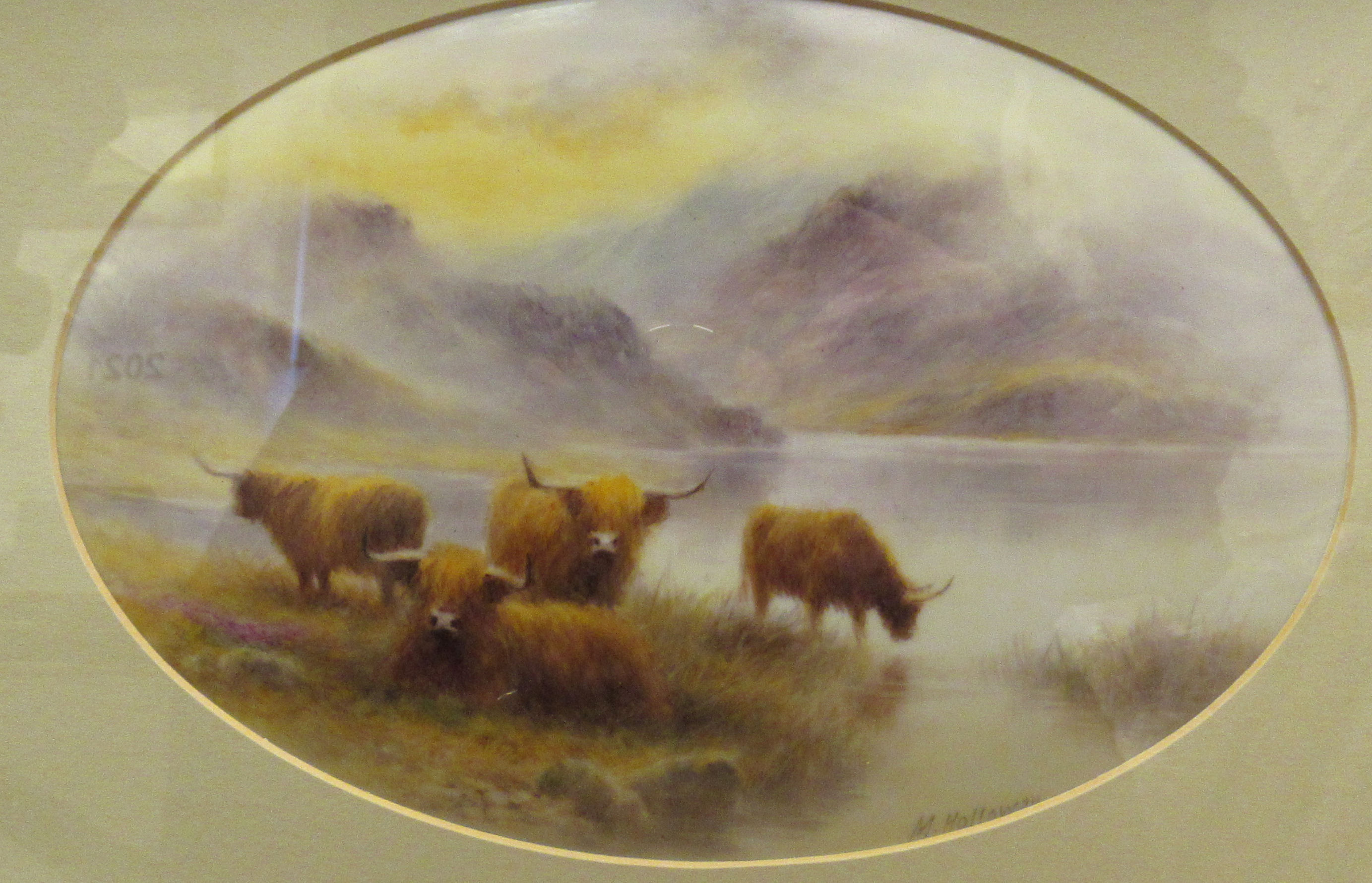 An oval convex porcelain plaque painted by Milwyn Holloway (formerly of Royal Worcester), - Image 2 of 7