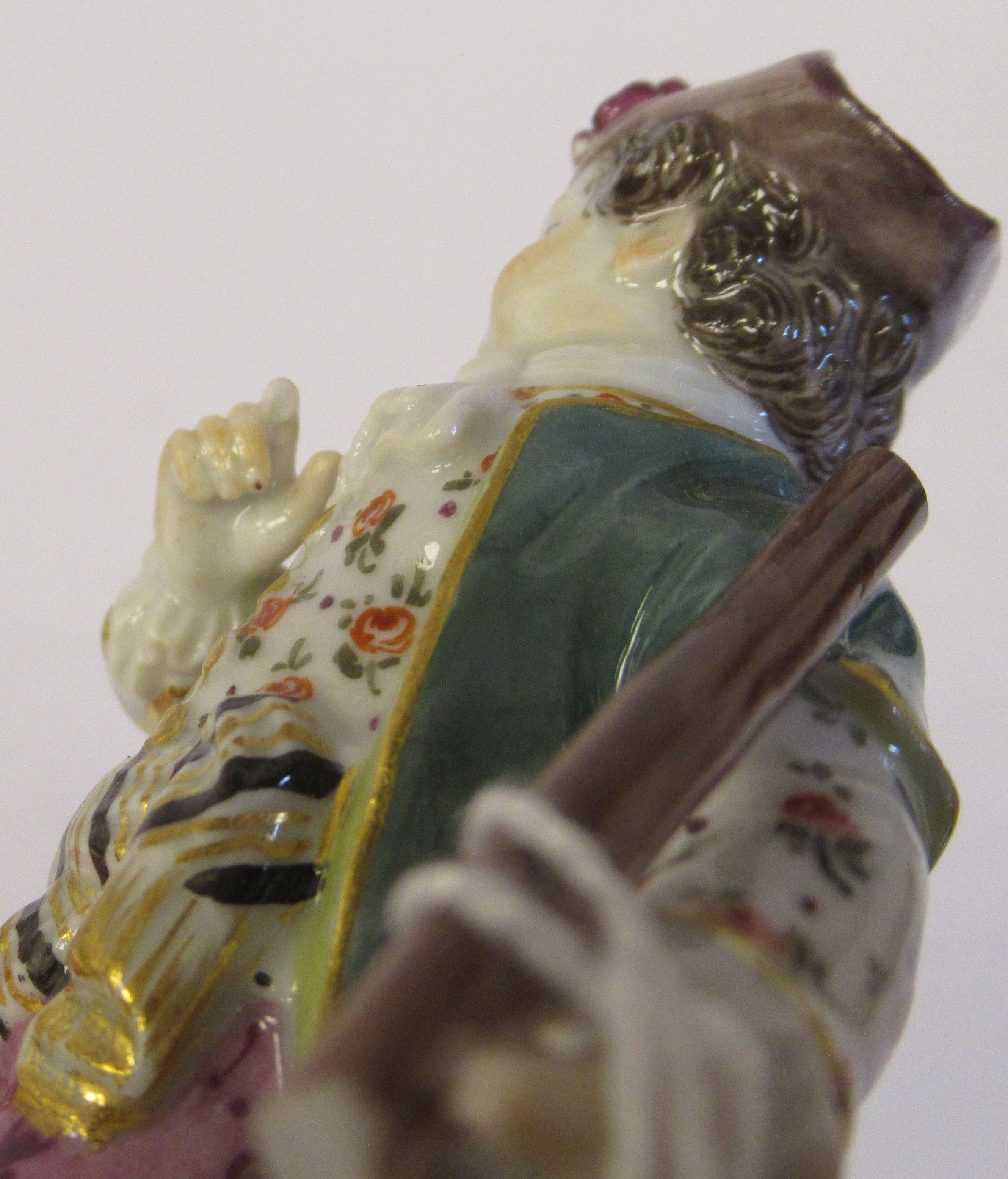 A 19th/20thC Meissen porcelain figure, a boy wearing a frock coat with a dog at his side, on a - Image 4 of 4