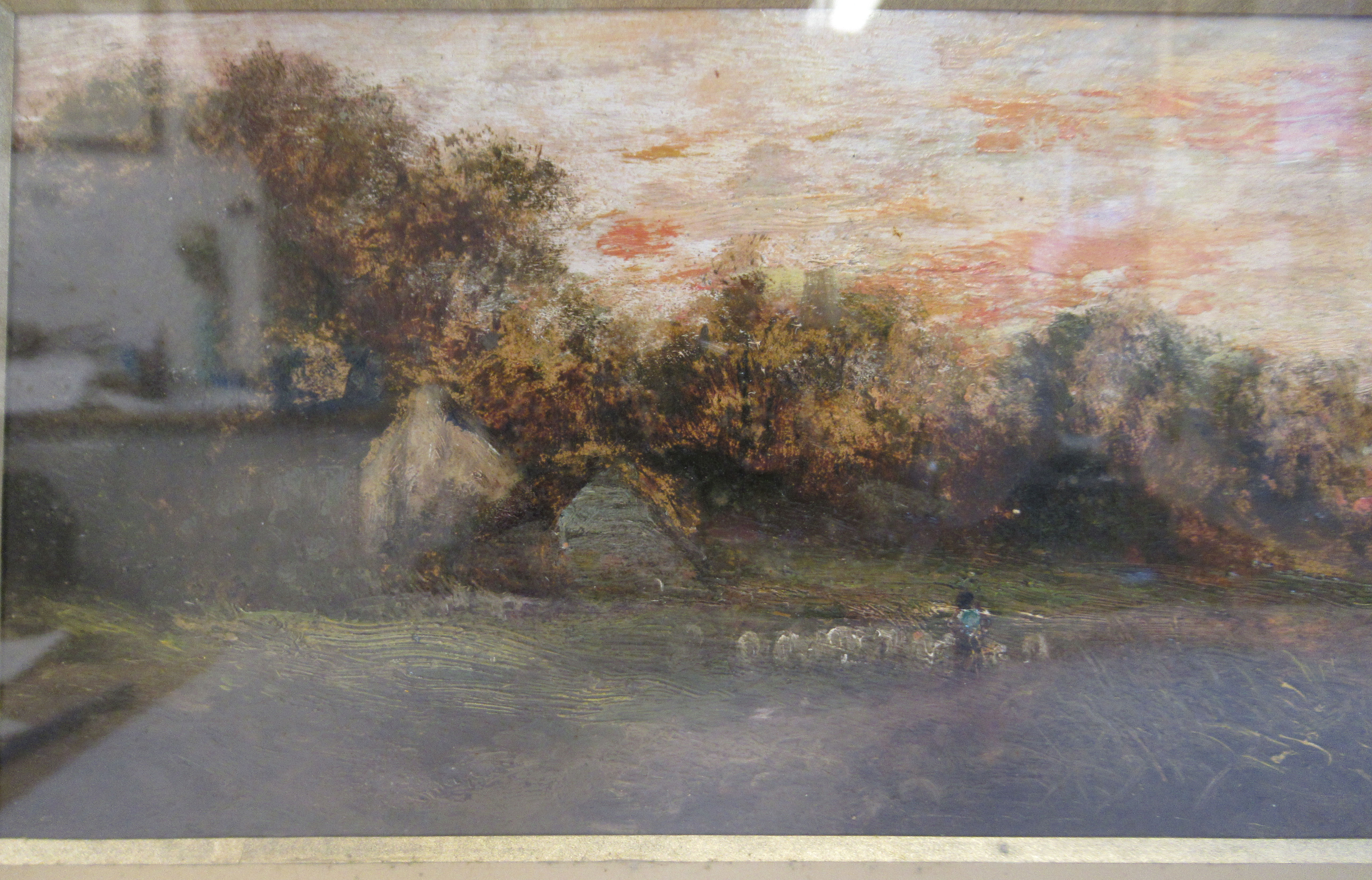 European School - a landscape at sunset with figures in a punt and another tending sheep on a - Image 3 of 5