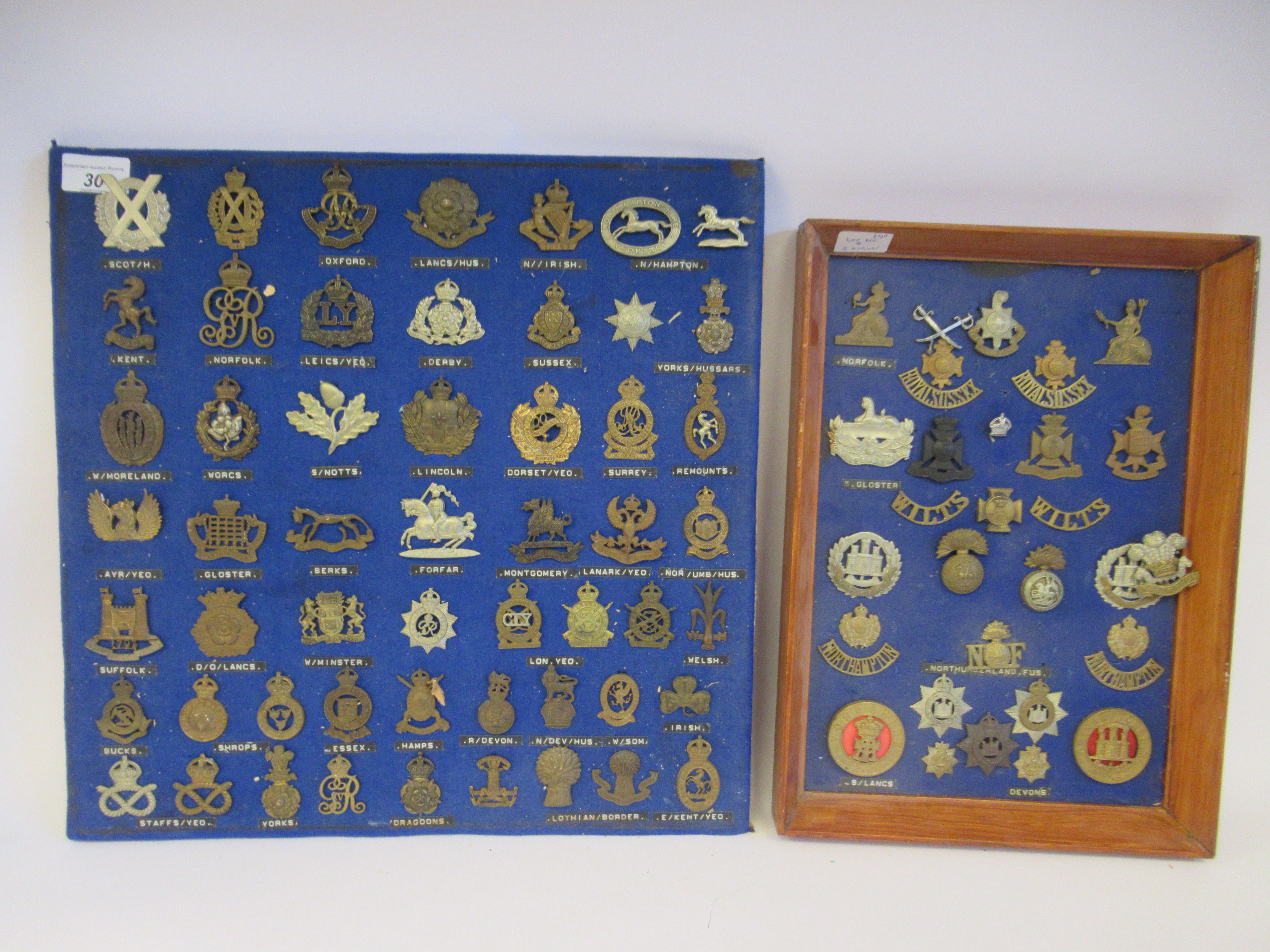 Approx. fifty military cap badges and other insignia, some copies: to include The Lancashire