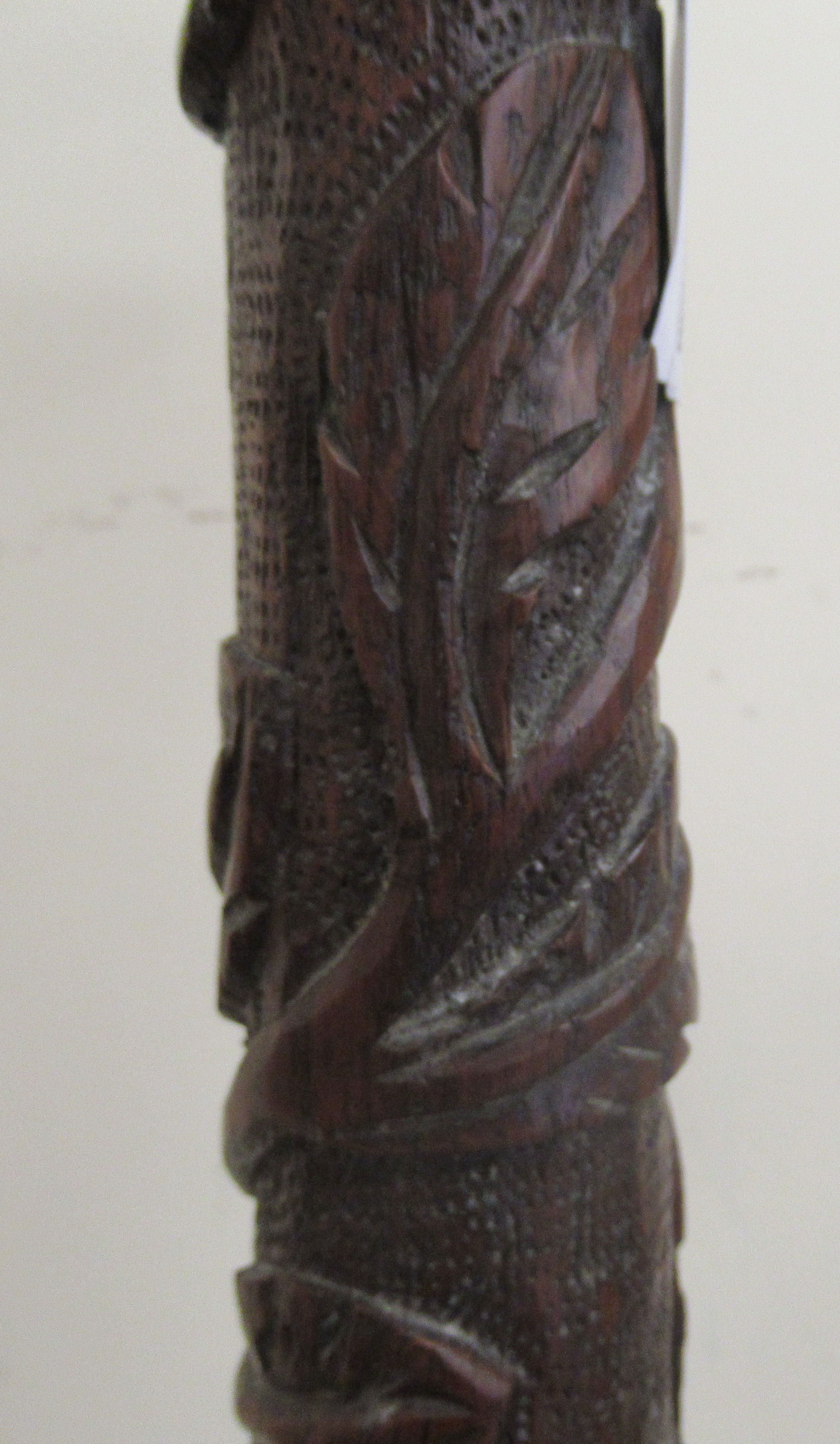 An early 19thC profusely foliate and rosette carved candlestand with a dished top and column, raised - Image 3 of 6