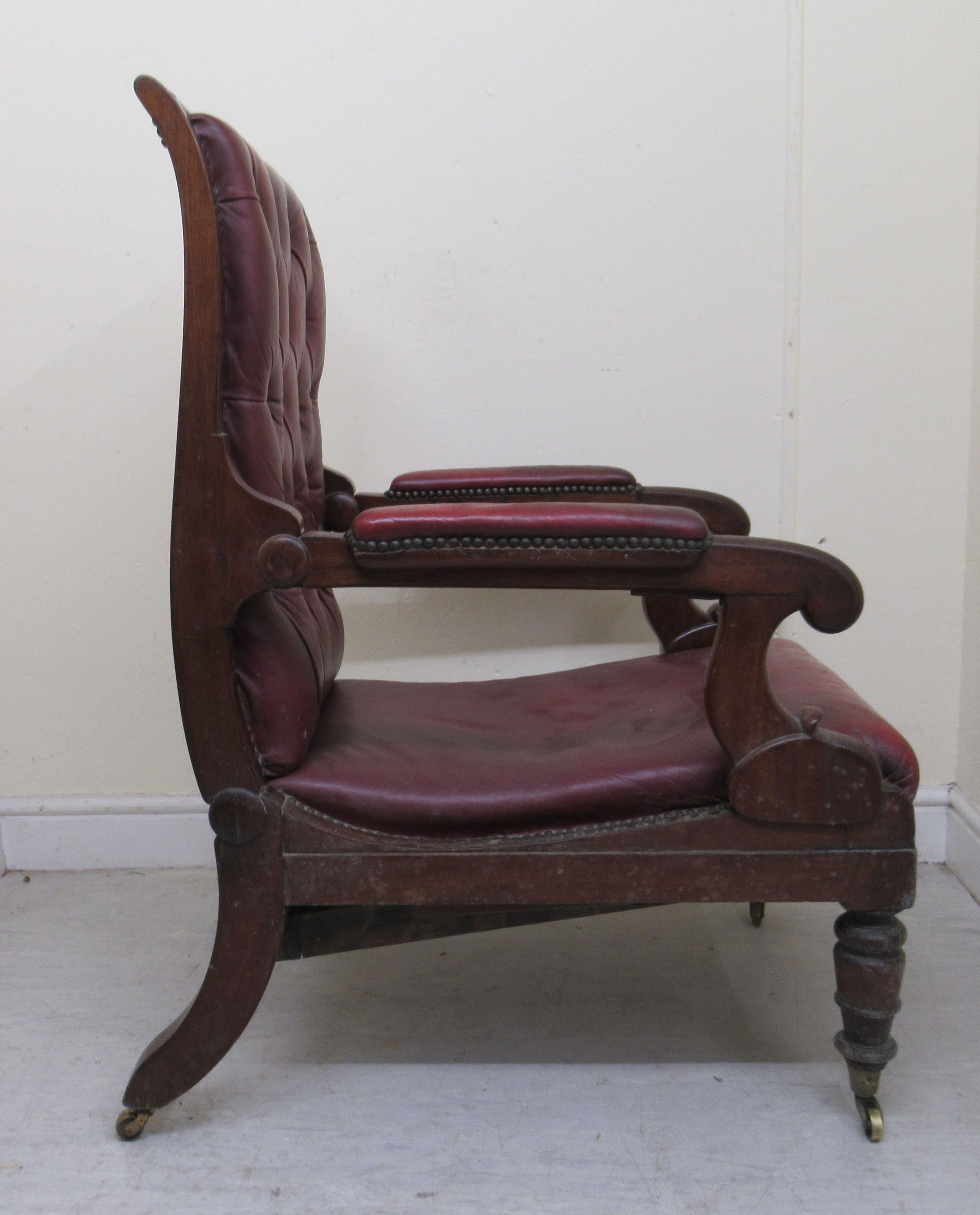 A William IV mahogany framed reclining library chair, the Daws Patent action having a height - Image 3 of 12