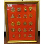Twenty military regimental cap badges and insignia, some copies: to include South Lancashire