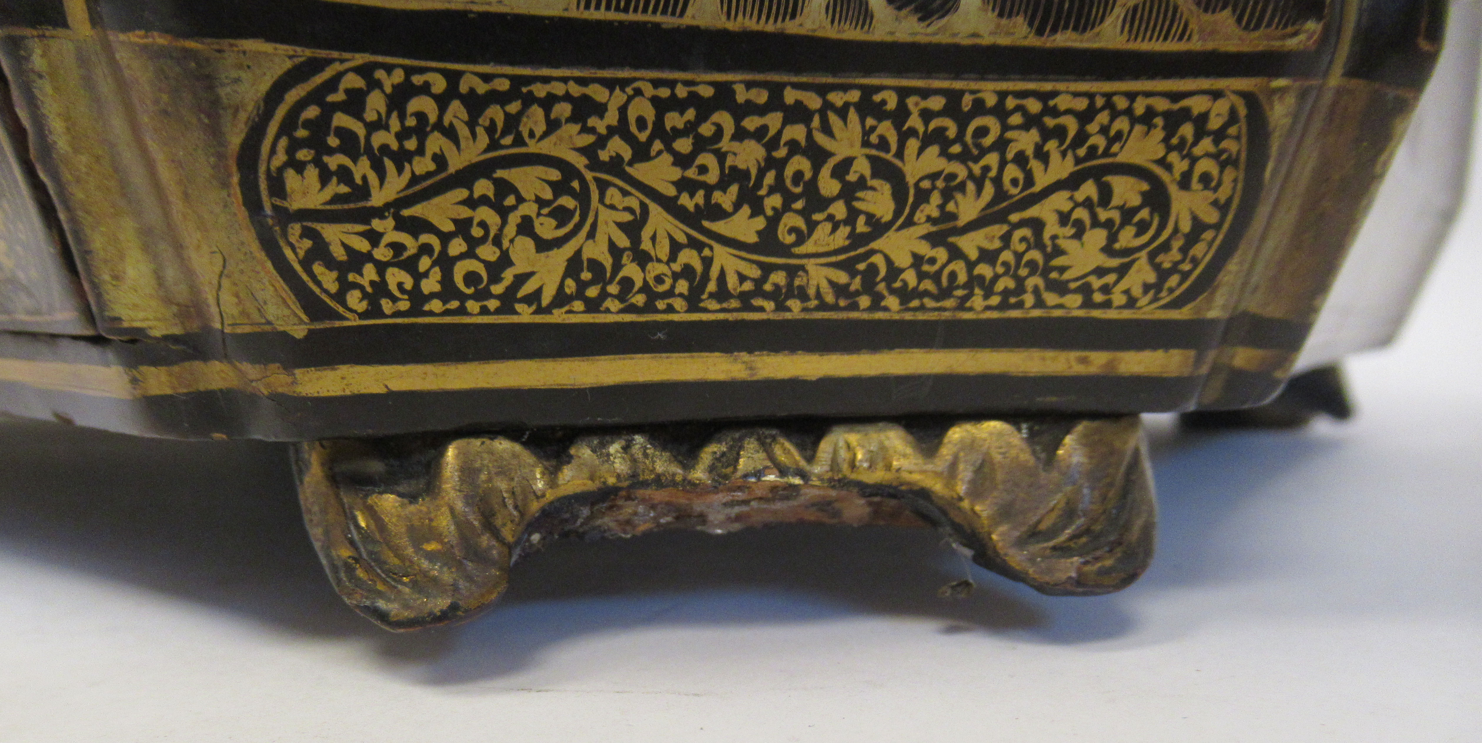 A late 19thC Sino European black lacquered sewing casket of incurved, elongated octagonal form - Image 10 of 11