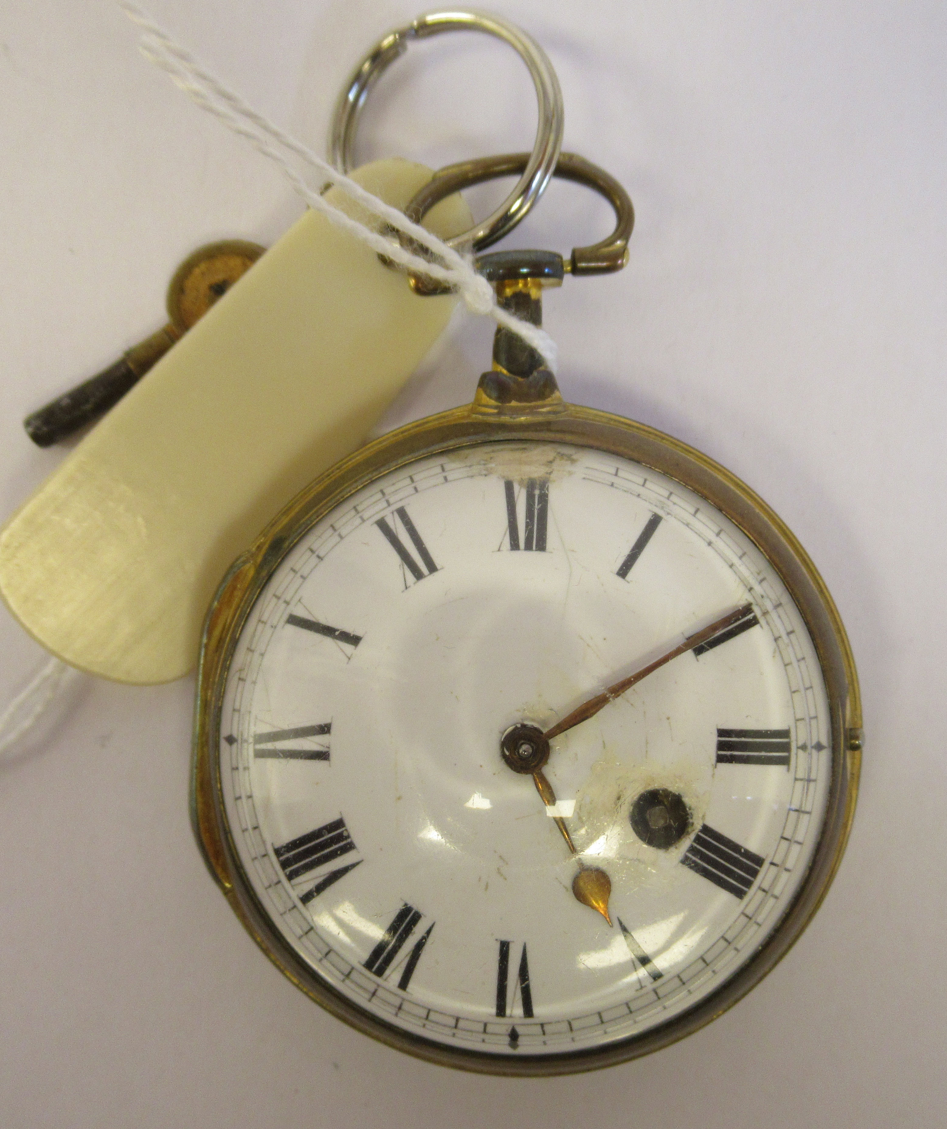 A 19thC Irish gilt metal cased pocket watch with a dimpled glass, the fusee movement inscribed * O'