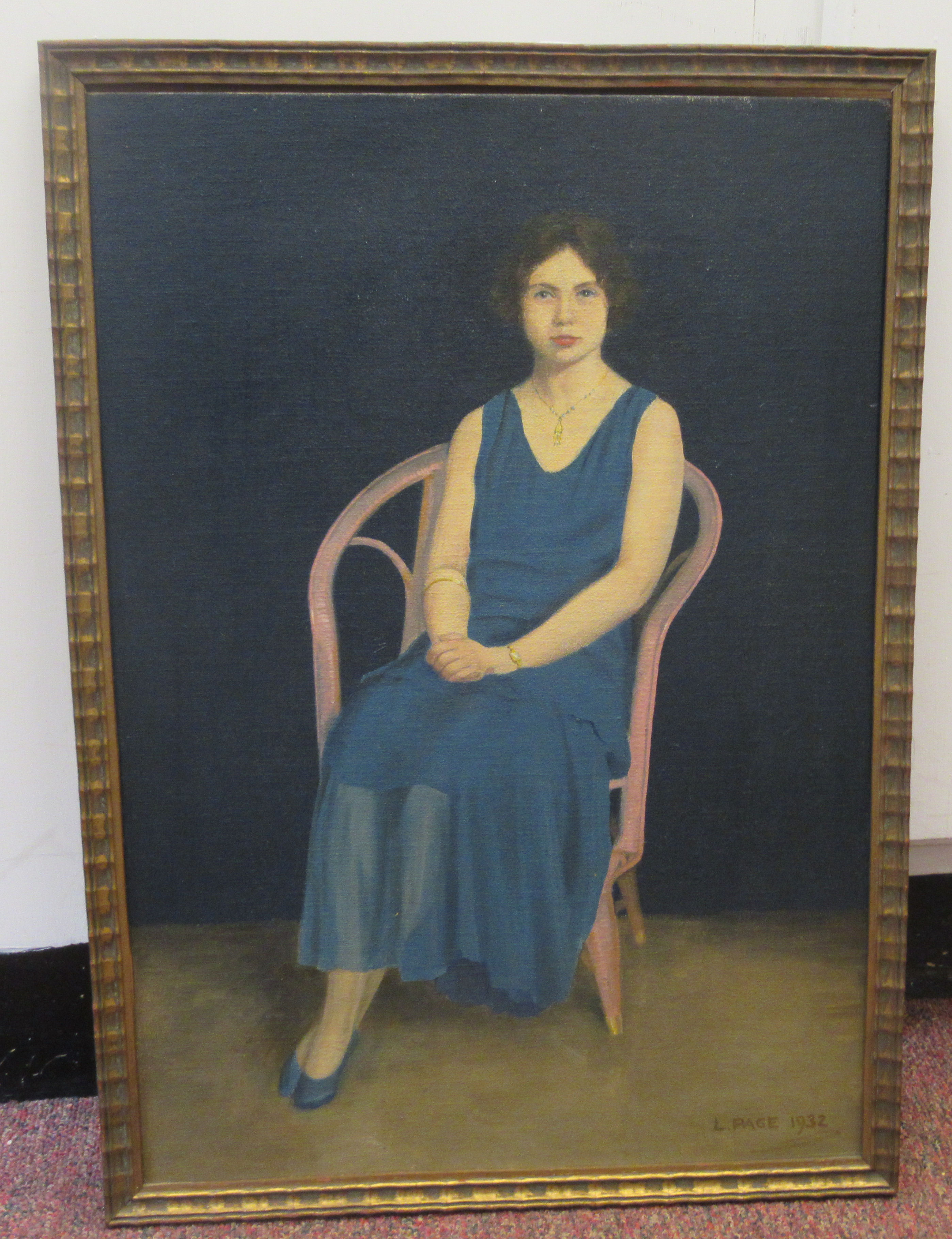 L Page - a portrait study, a young woman wearing a blue dress, seated on a veranda chairoil on