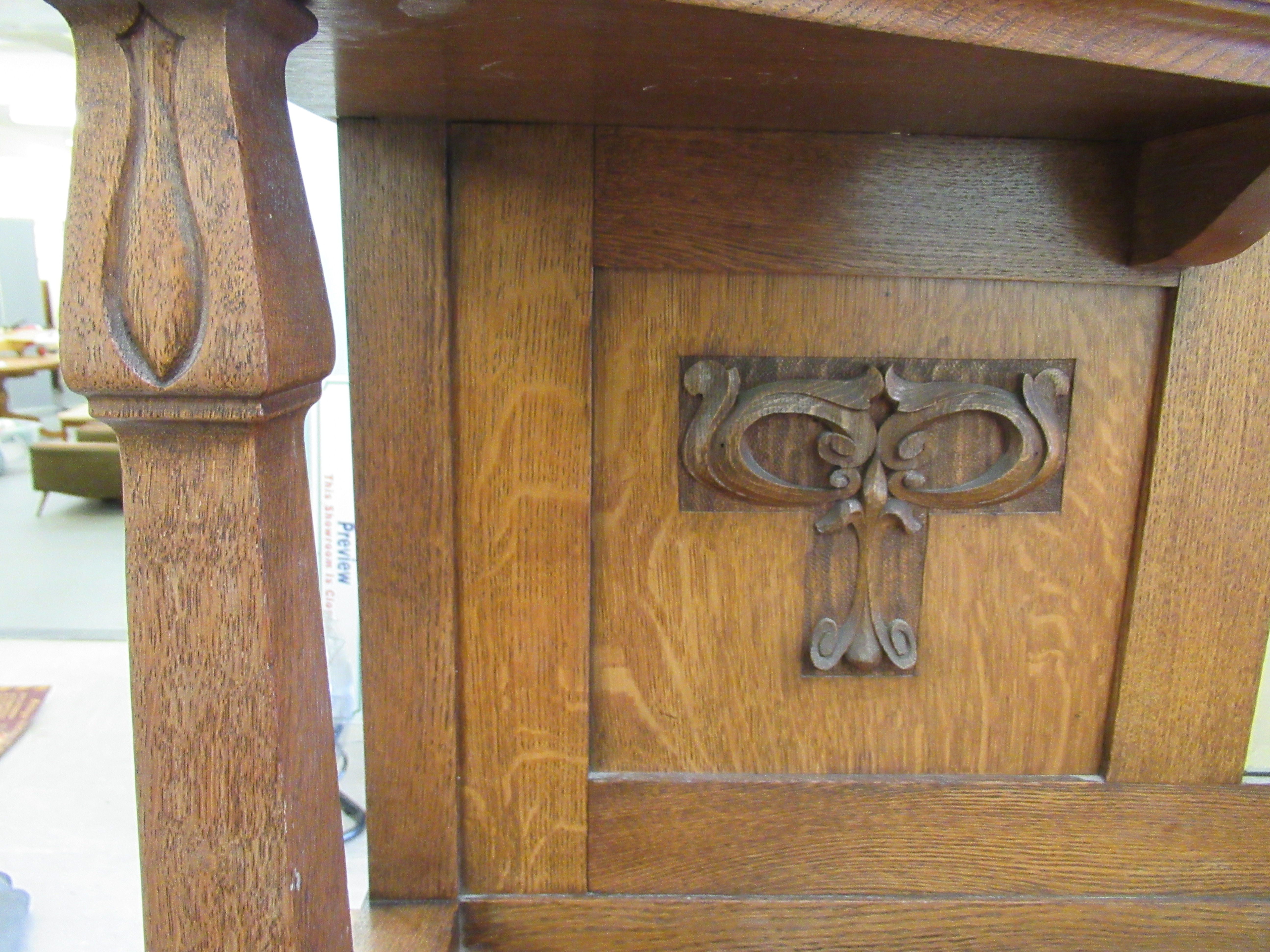 An early 20thC Liberty & Co light oak dresser with carved organically inspired ornament, the - Image 7 of 14