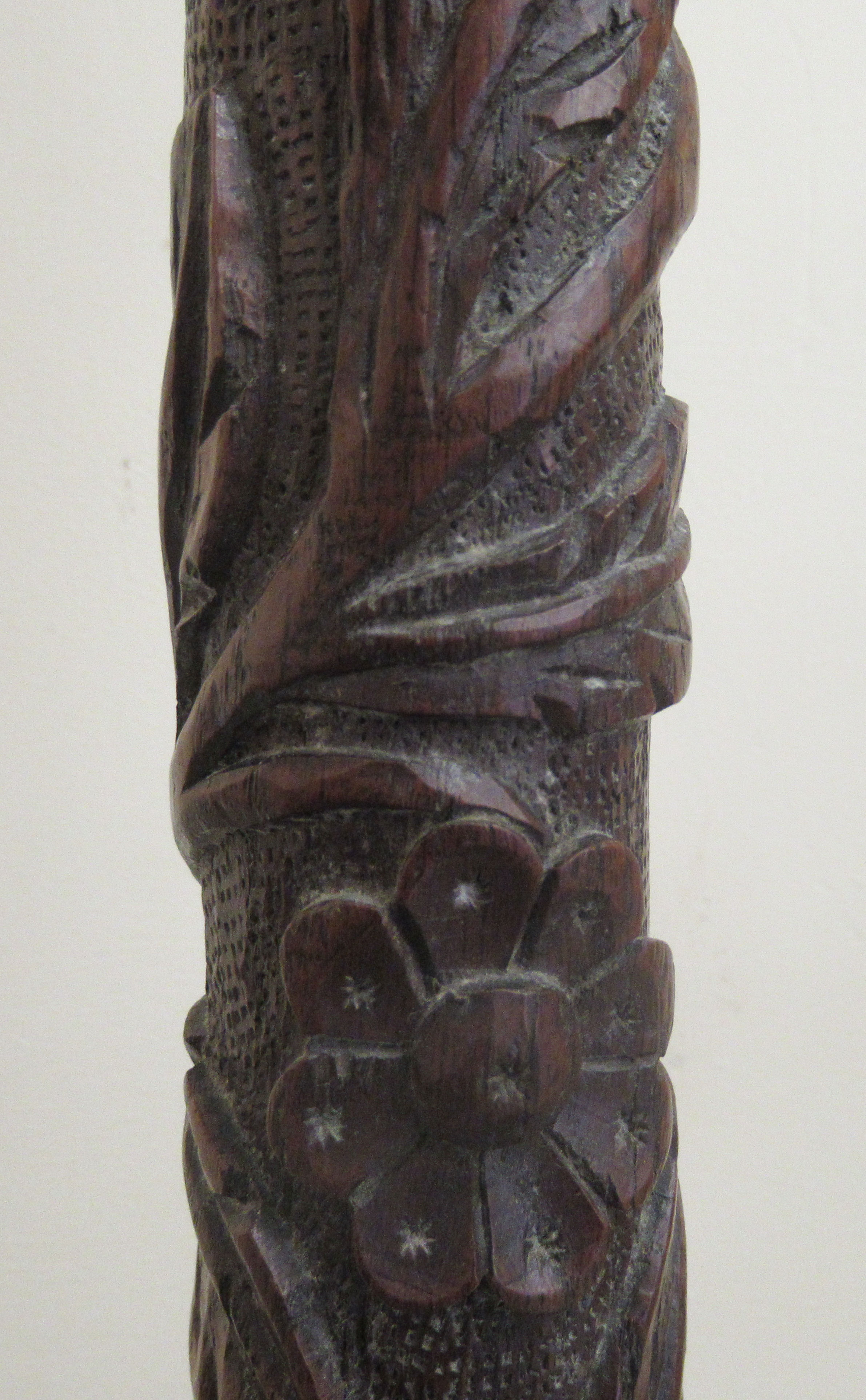An early 19thC profusely foliate and rosette carved candlestand with a dished top and column, raised - Image 4 of 6