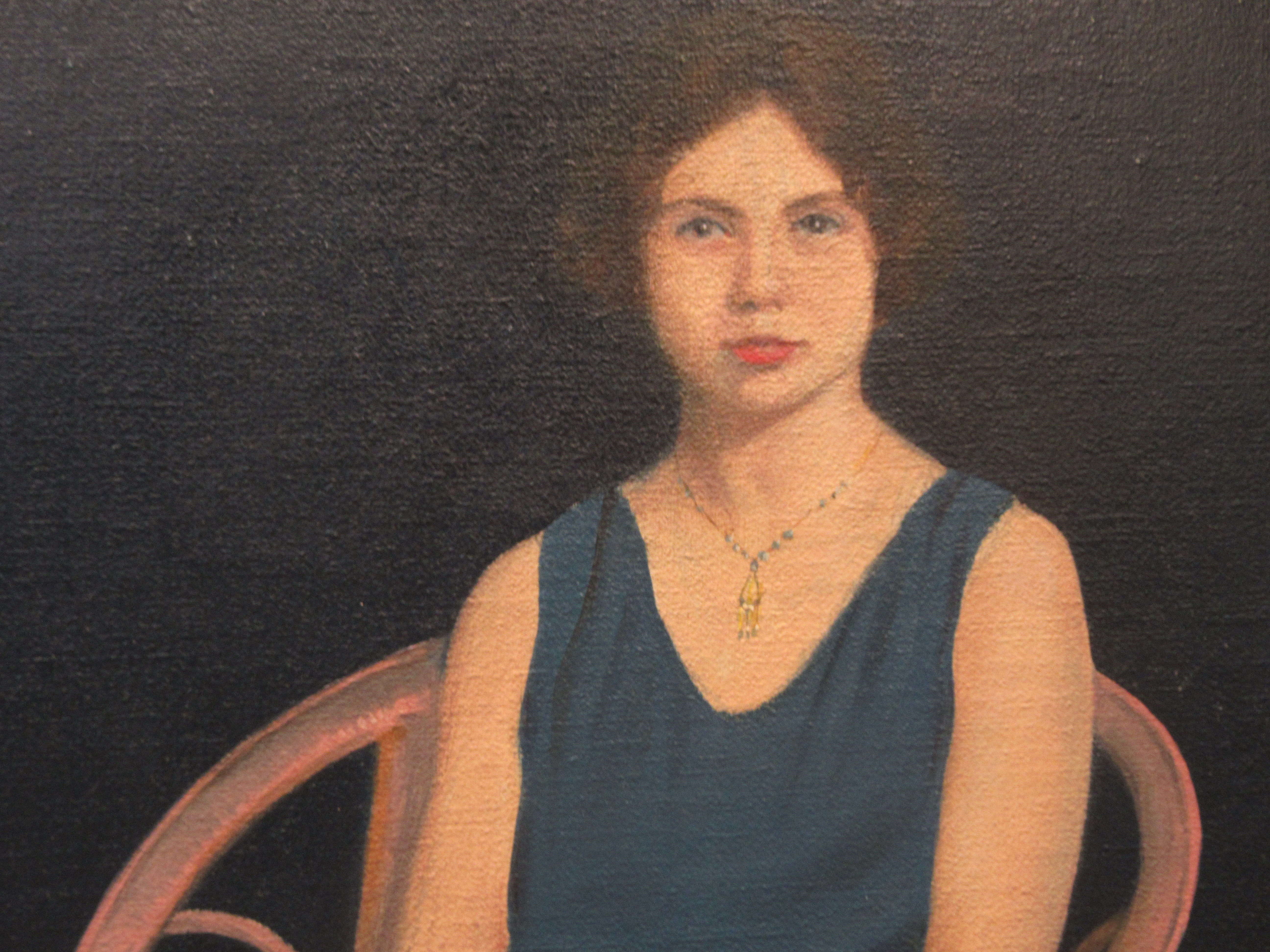 L Page - a portrait study, a young woman wearing a blue dress, seated on a veranda chairoil on - Image 2 of 4