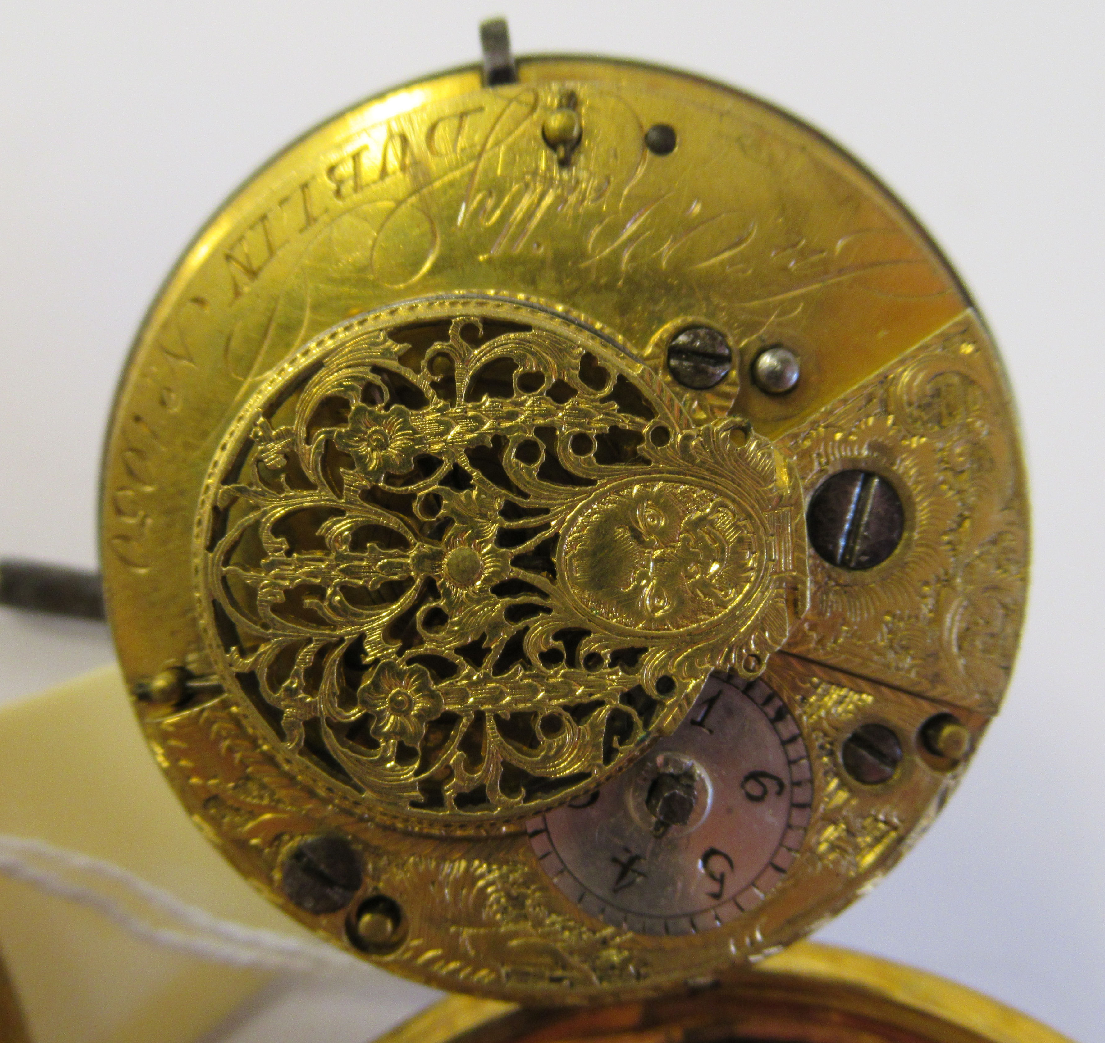 A 19thC Irish gilt metal cased pocket watch with a dimpled glass, the fusee movement inscribed * O' - Image 3 of 5