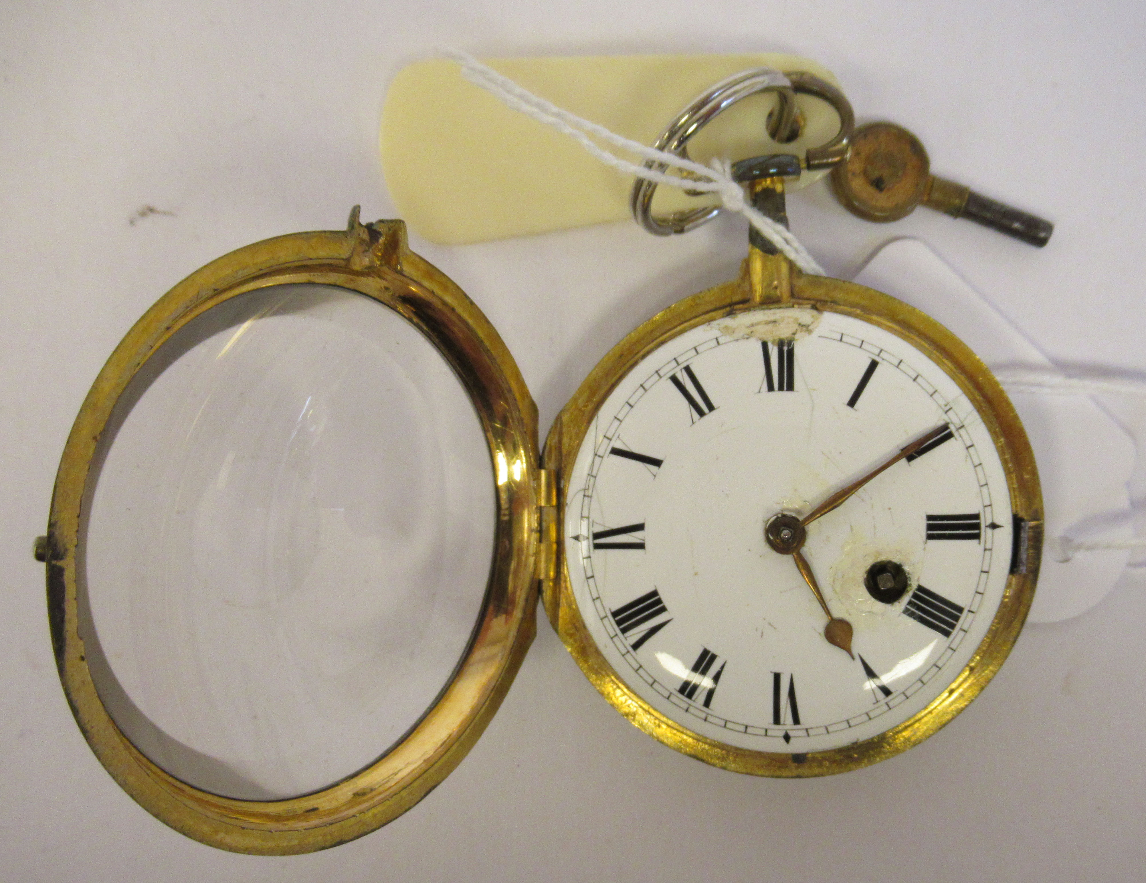 A 19thC Irish gilt metal cased pocket watch with a dimpled glass, the fusee movement inscribed * O' - Image 2 of 5
